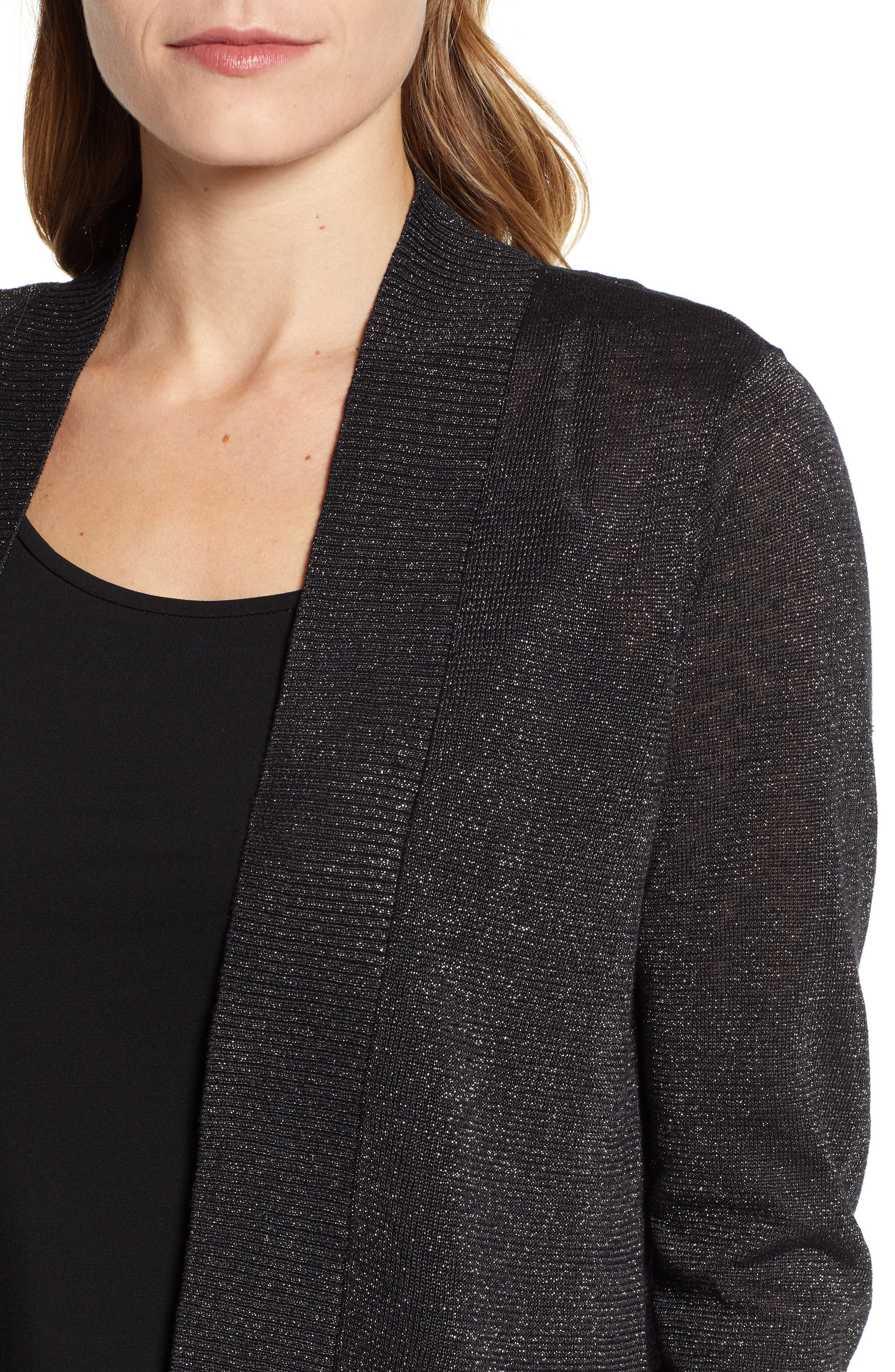 Lea Shimmer Open Front Cardigan,                             Alternate thumbnail 4, color,                             PEWTER
