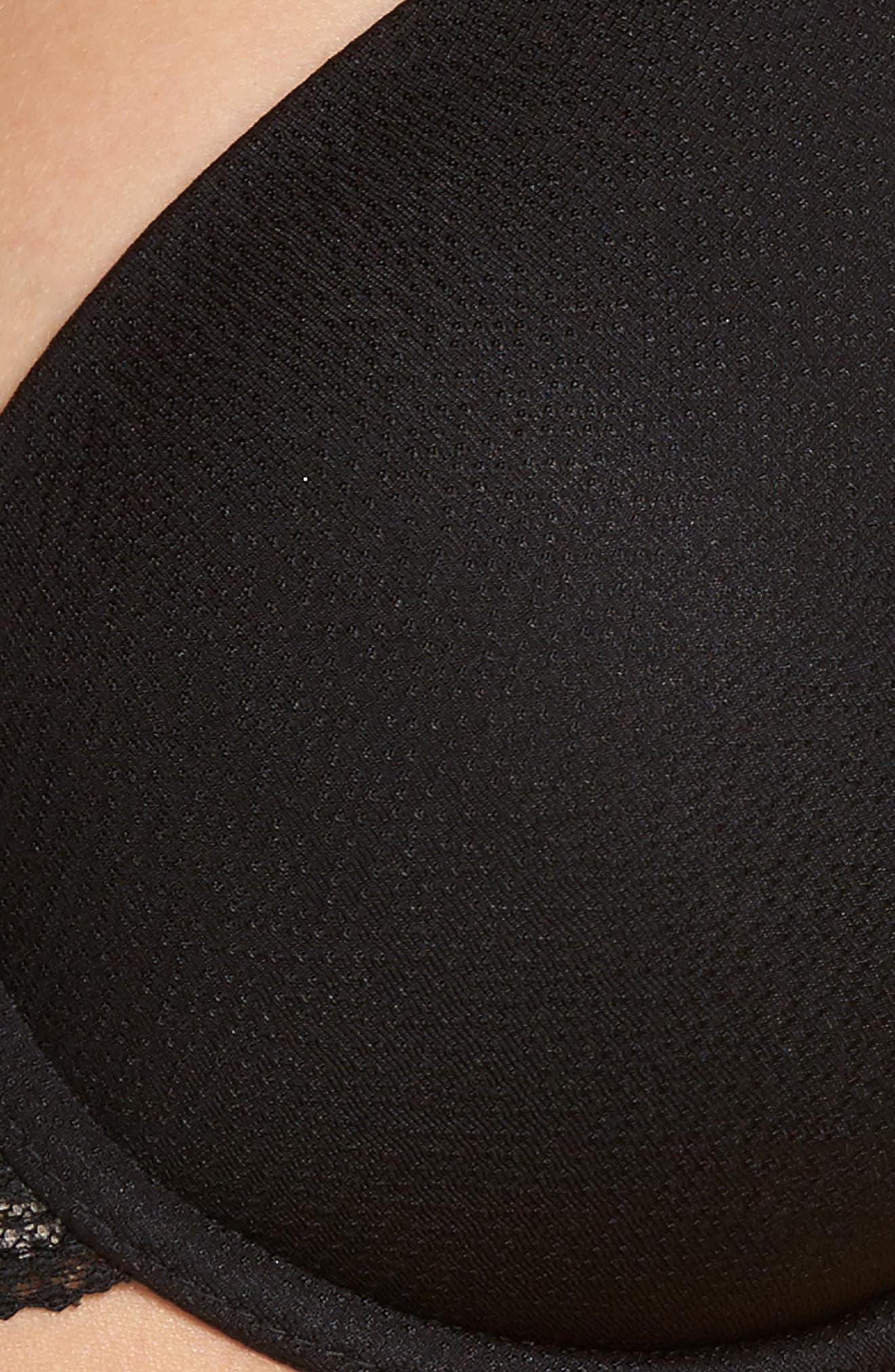 Top Tier Underwire T-Shirt Bra,                             Alternate thumbnail 6, color,                             BLACK