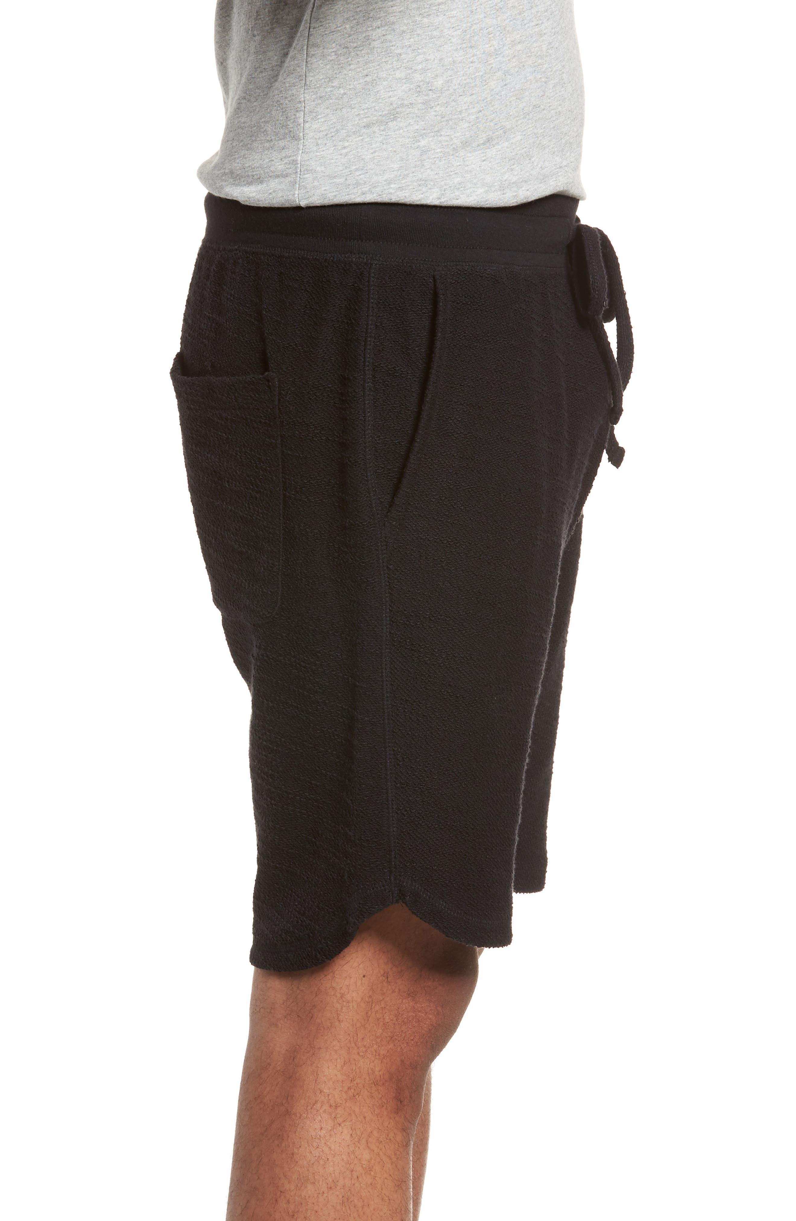 Terry Cotton Blend Shorts,                             Alternate thumbnail 3, color,                             001