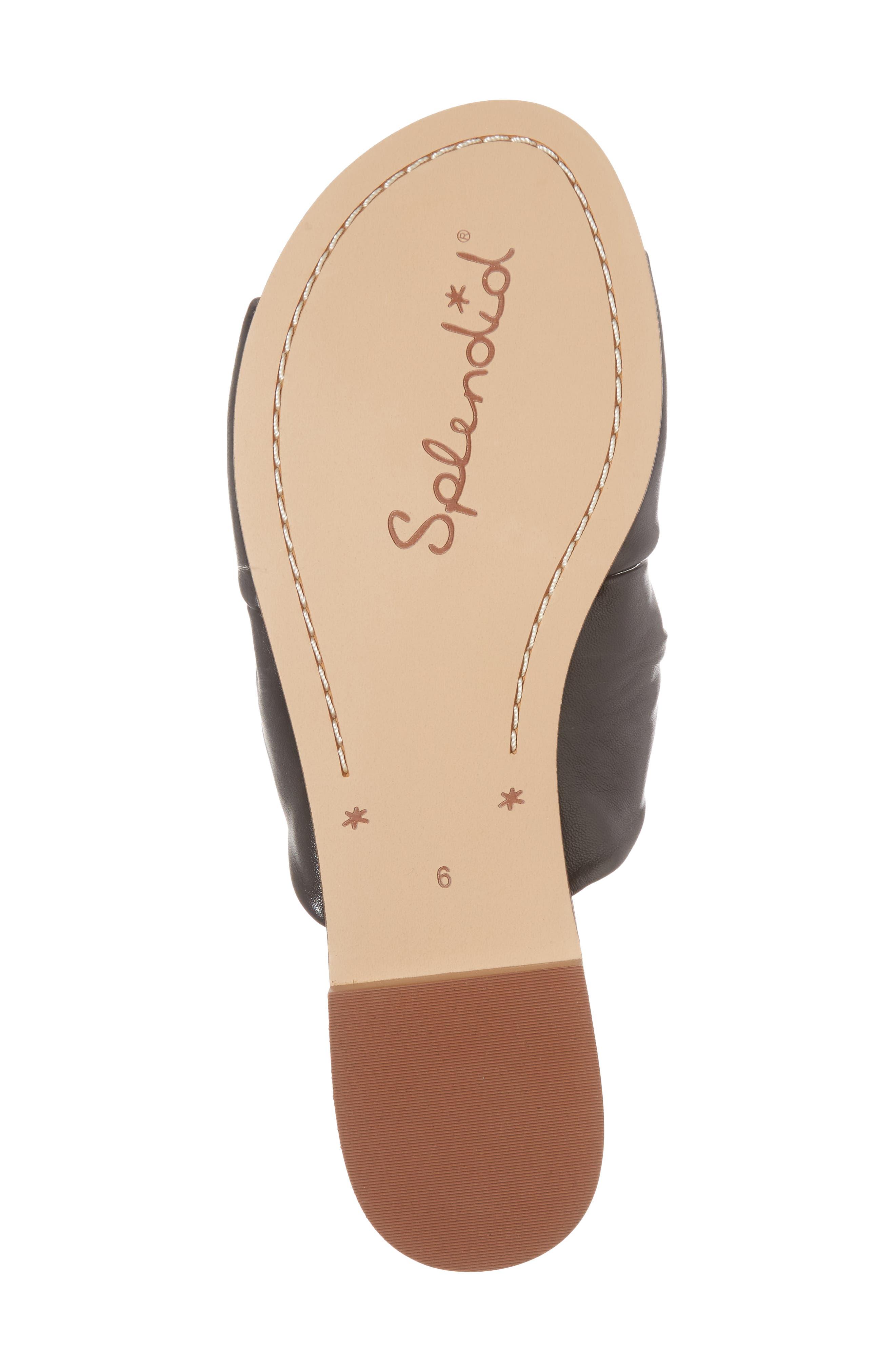 Barton Double Knotted Slide Sandal,                             Alternate thumbnail 6, color,                             BLACK LEATHER