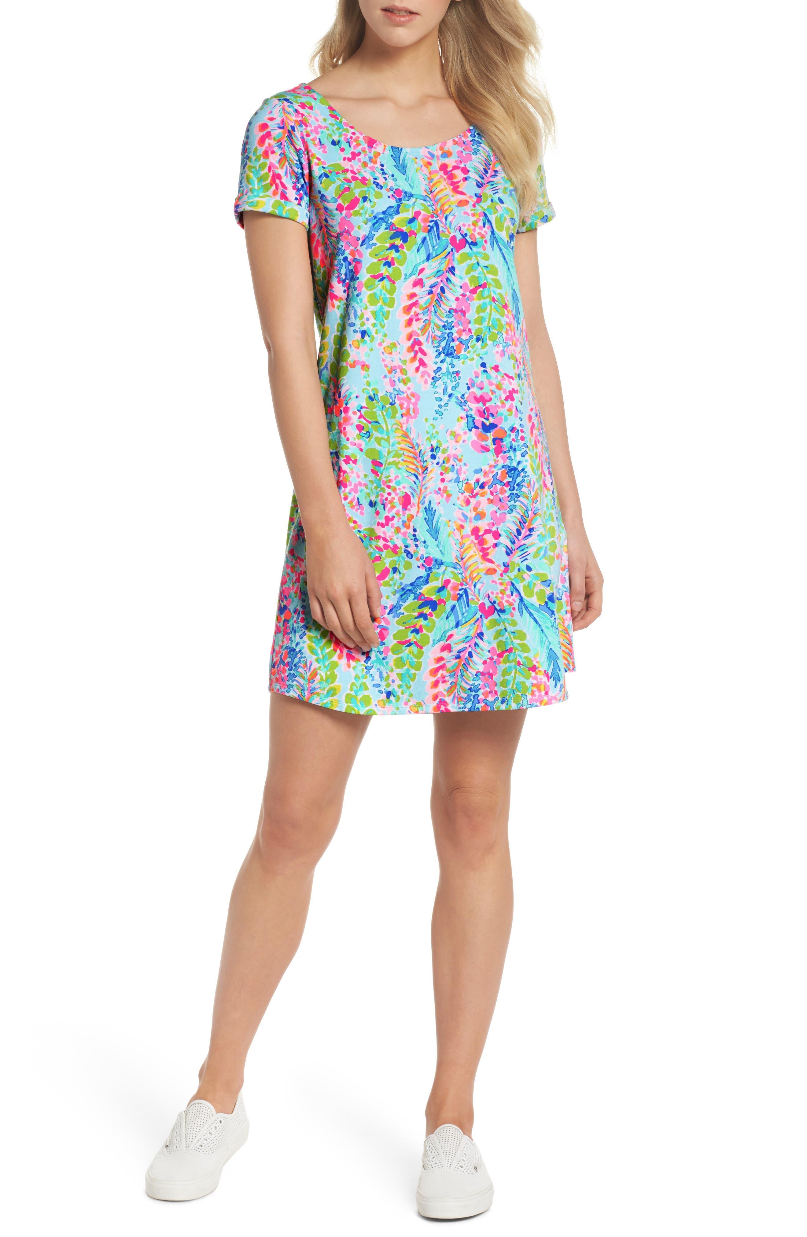 Tammy UPF 50+ Print Shift Dress,                             Main thumbnail 1, color,                             400