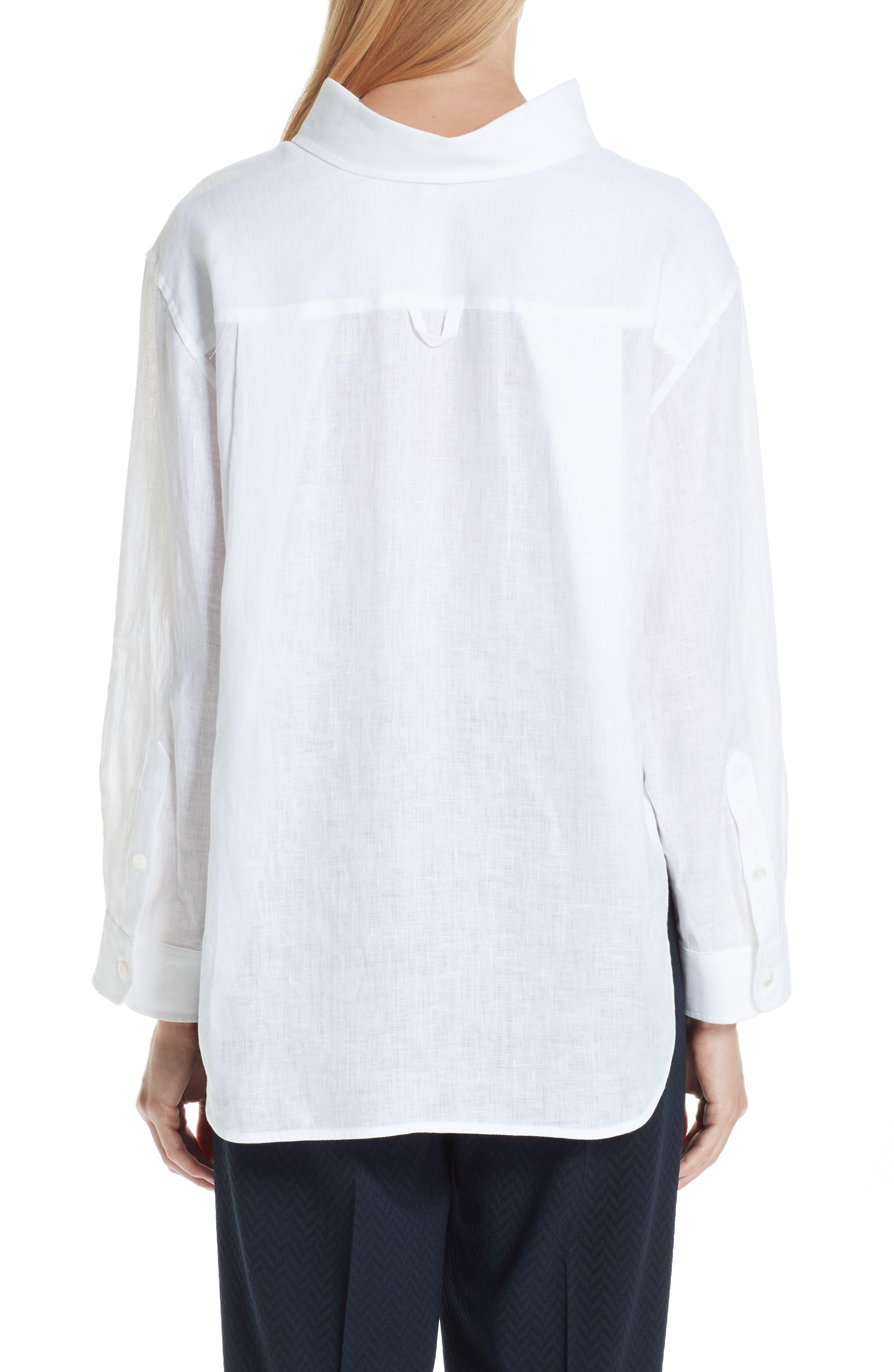 EMPORIO ARMANI,                             Long Sleeve Linen Blouse,                             Alternate thumbnail 2, color,                             BIANCO
