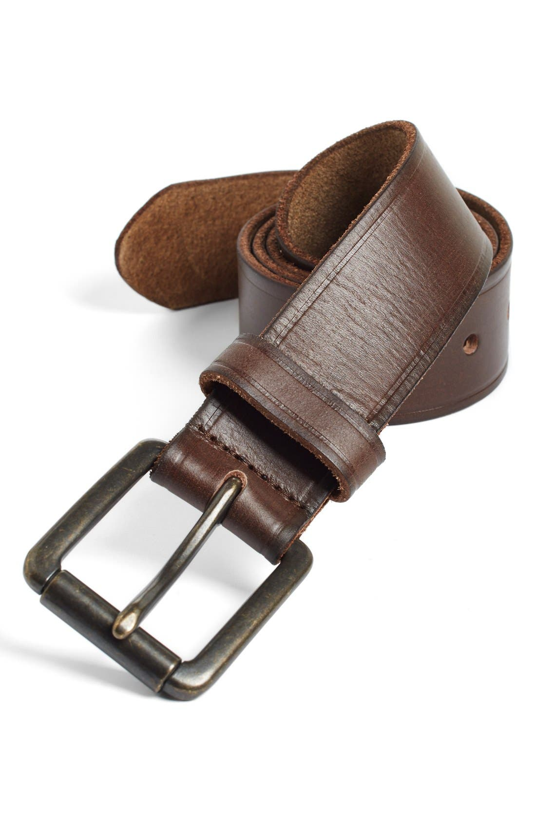 JOHNSTON & MURPHY Leather Belt, Main, color, DARK BROWN