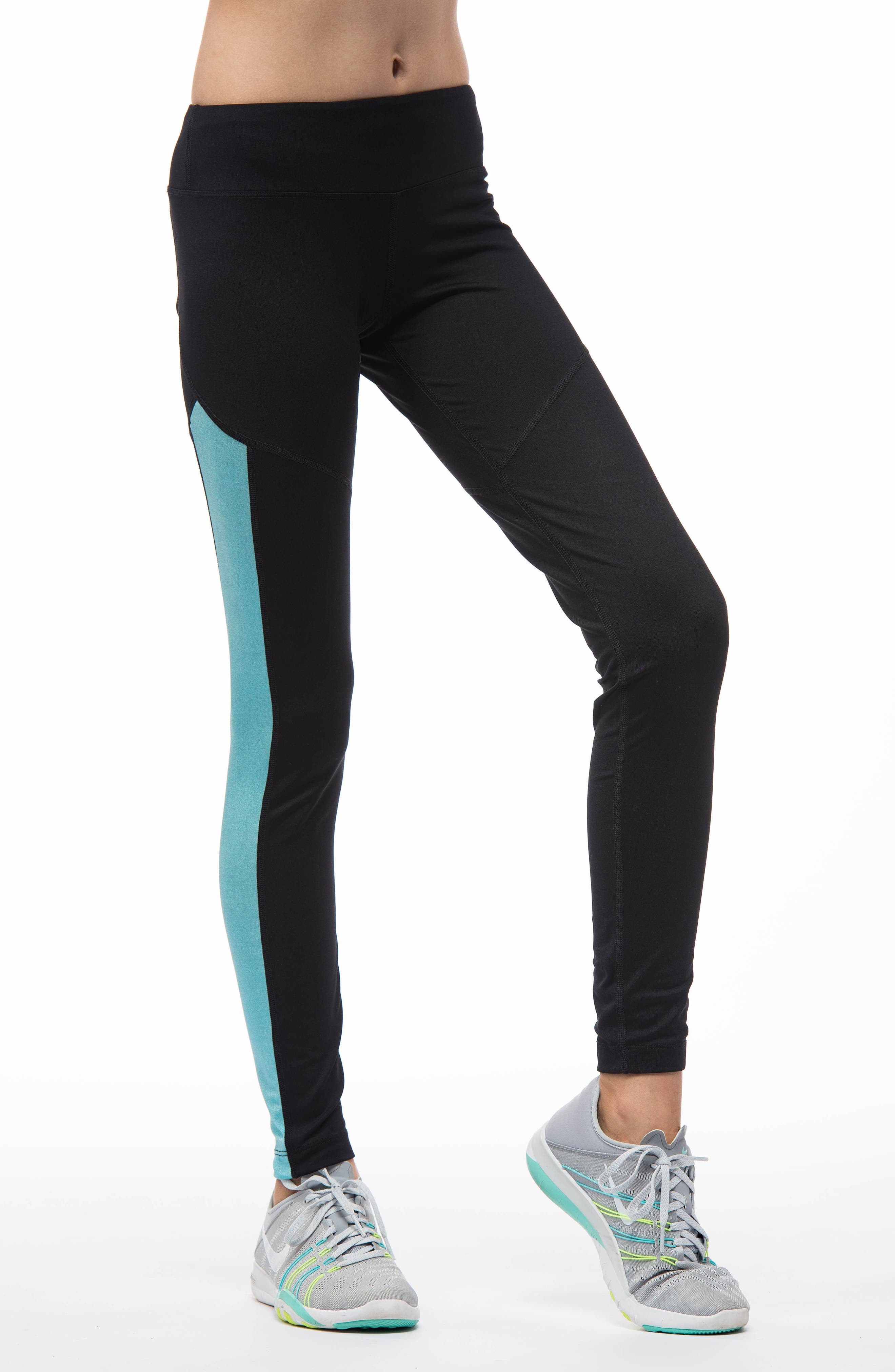 MIRA RAE,                             Zara Colorblock Leggings,                             Alternate thumbnail 4, color,                             001