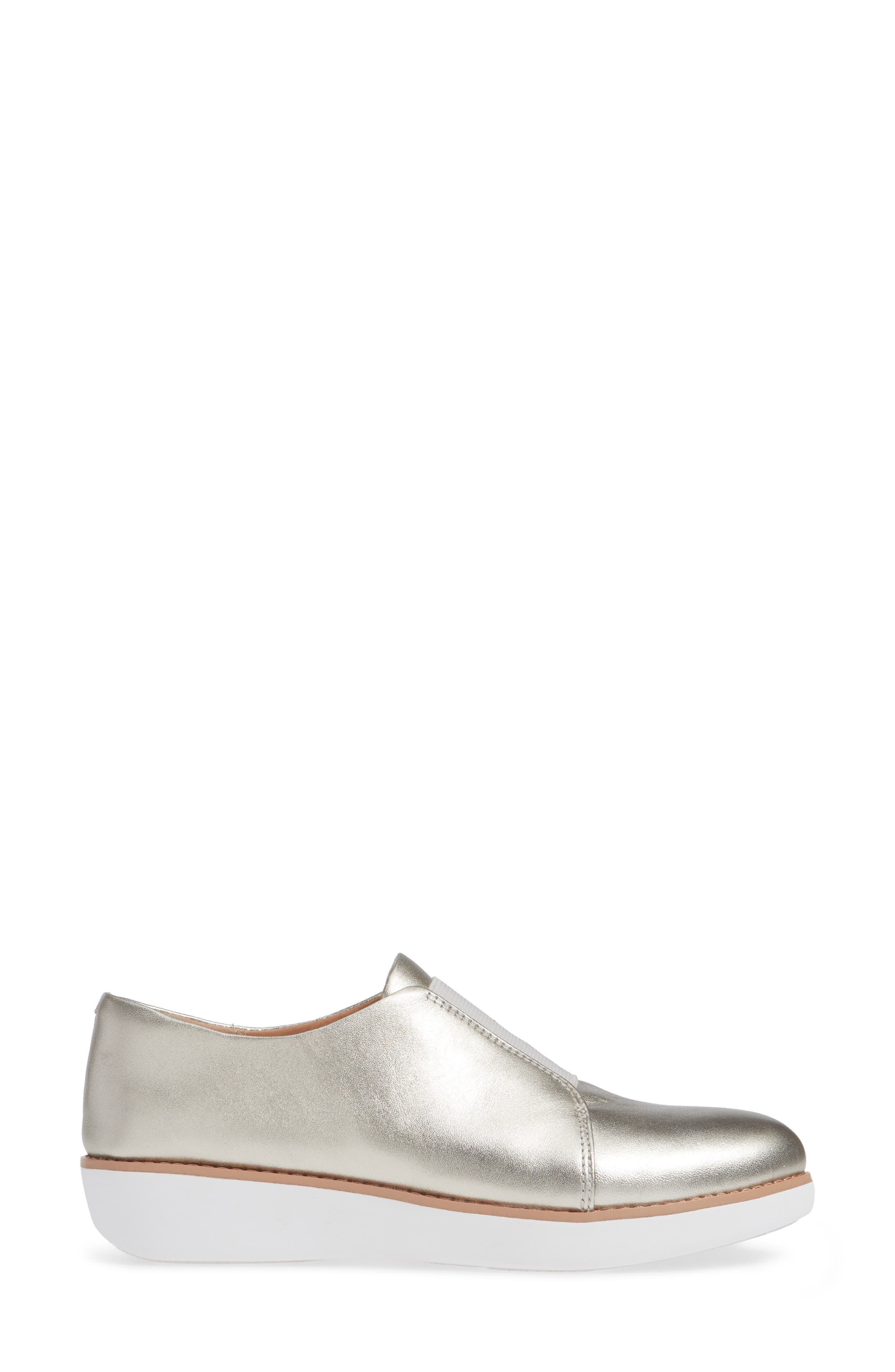 FITFLOP,                             Laceless Derby,                             Alternate thumbnail 3, color,                             SILVER LEATHER