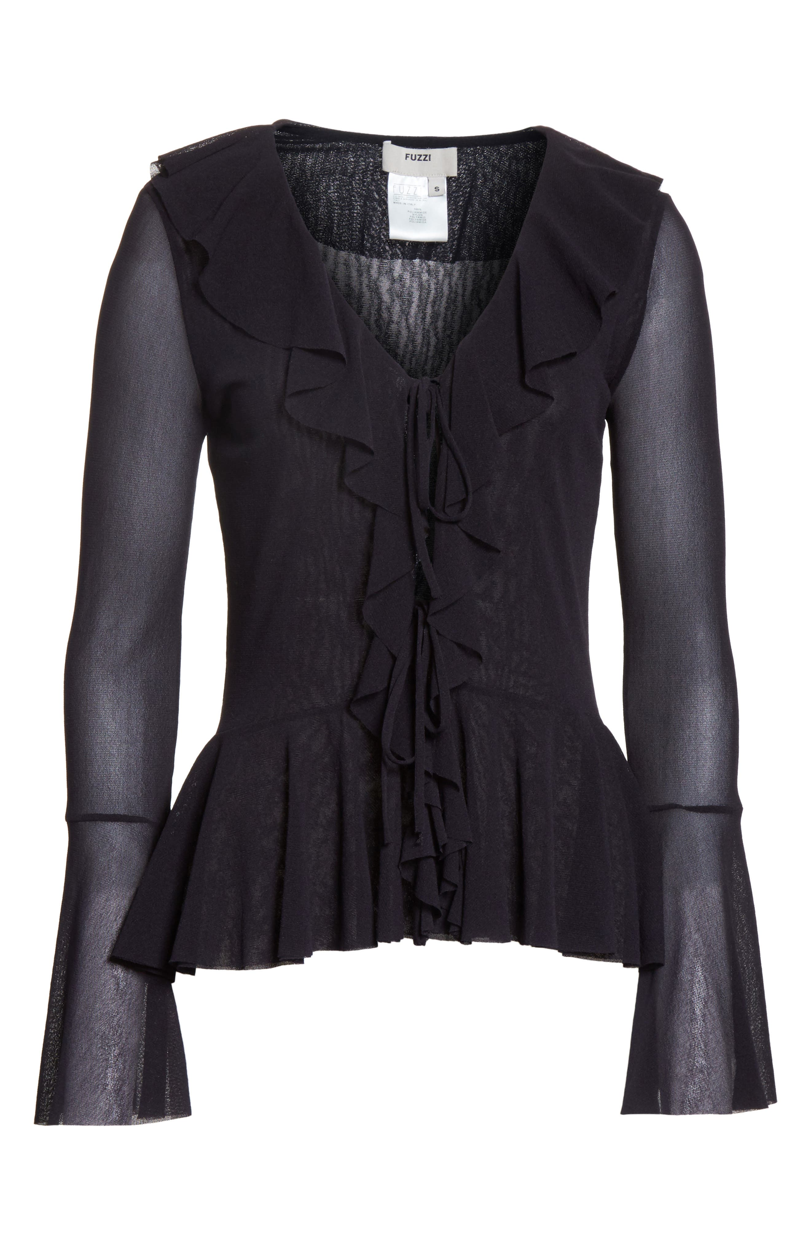 Ruffle Tulle Tie Front Cardigan,                             Alternate thumbnail 6, color,                             001