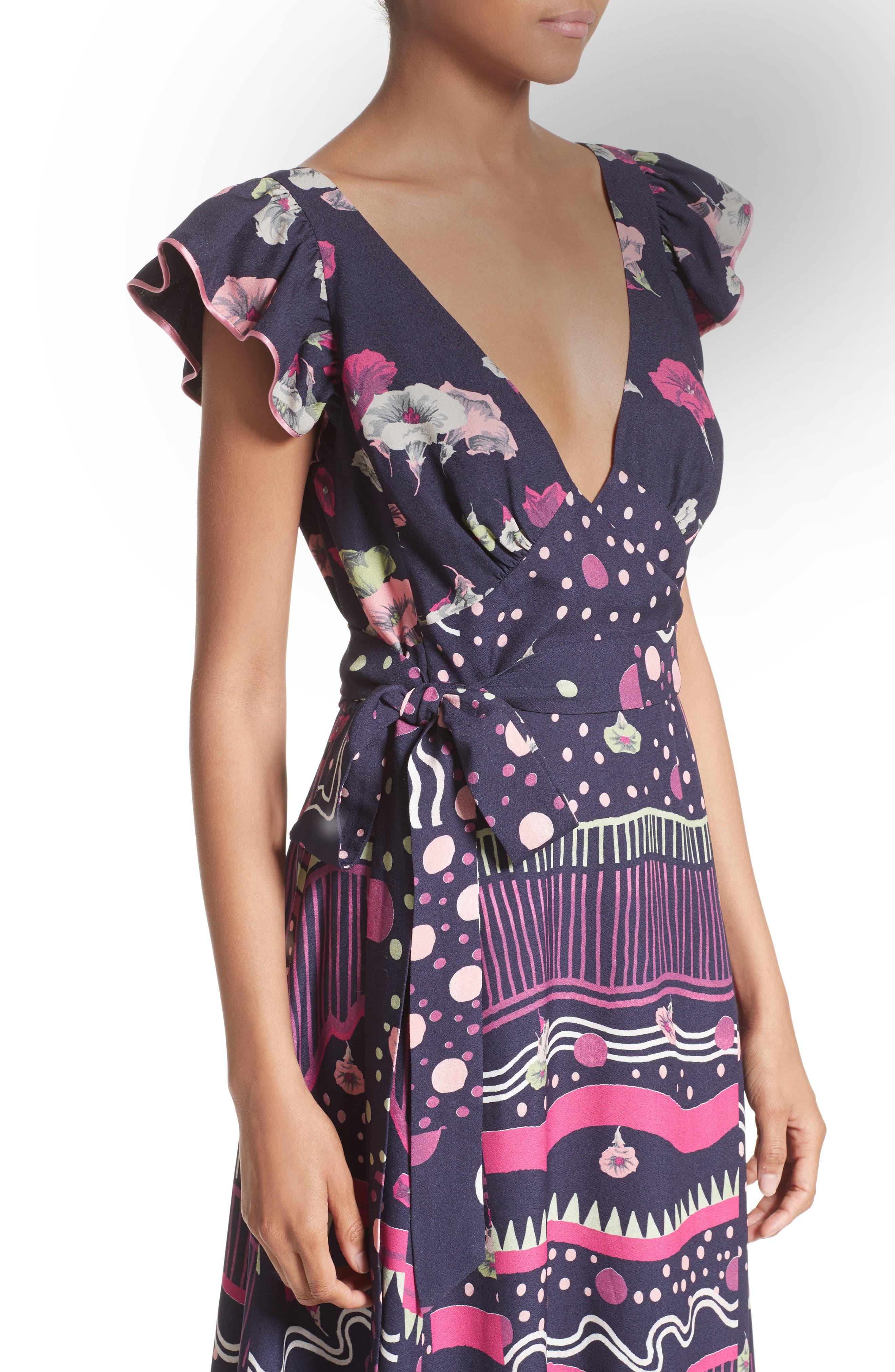 Glories Crepe Back Satin Midi Wrap Dress,                             Alternate thumbnail 4, color,                             411