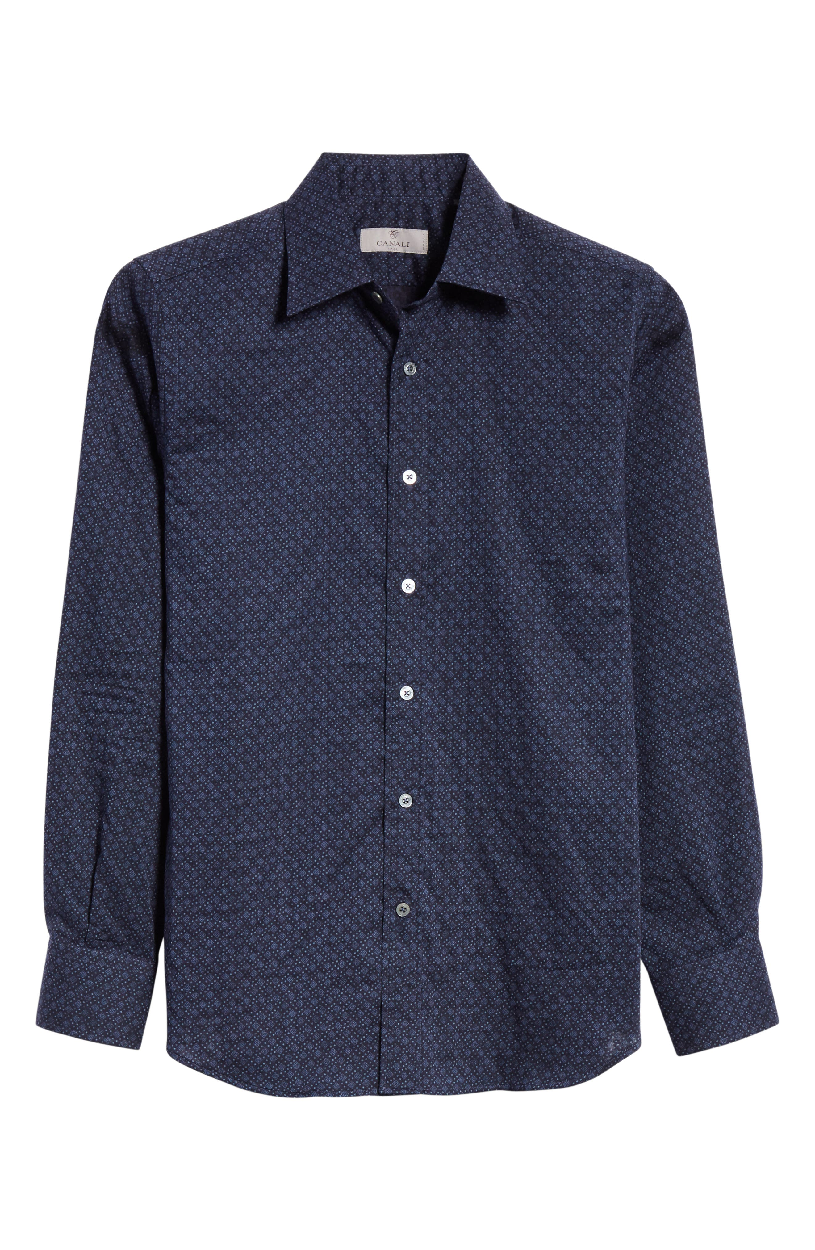 Regular Fit Easy Care Geometric Sport Shirt,                             Alternate thumbnail 6, color,                             NAVY
