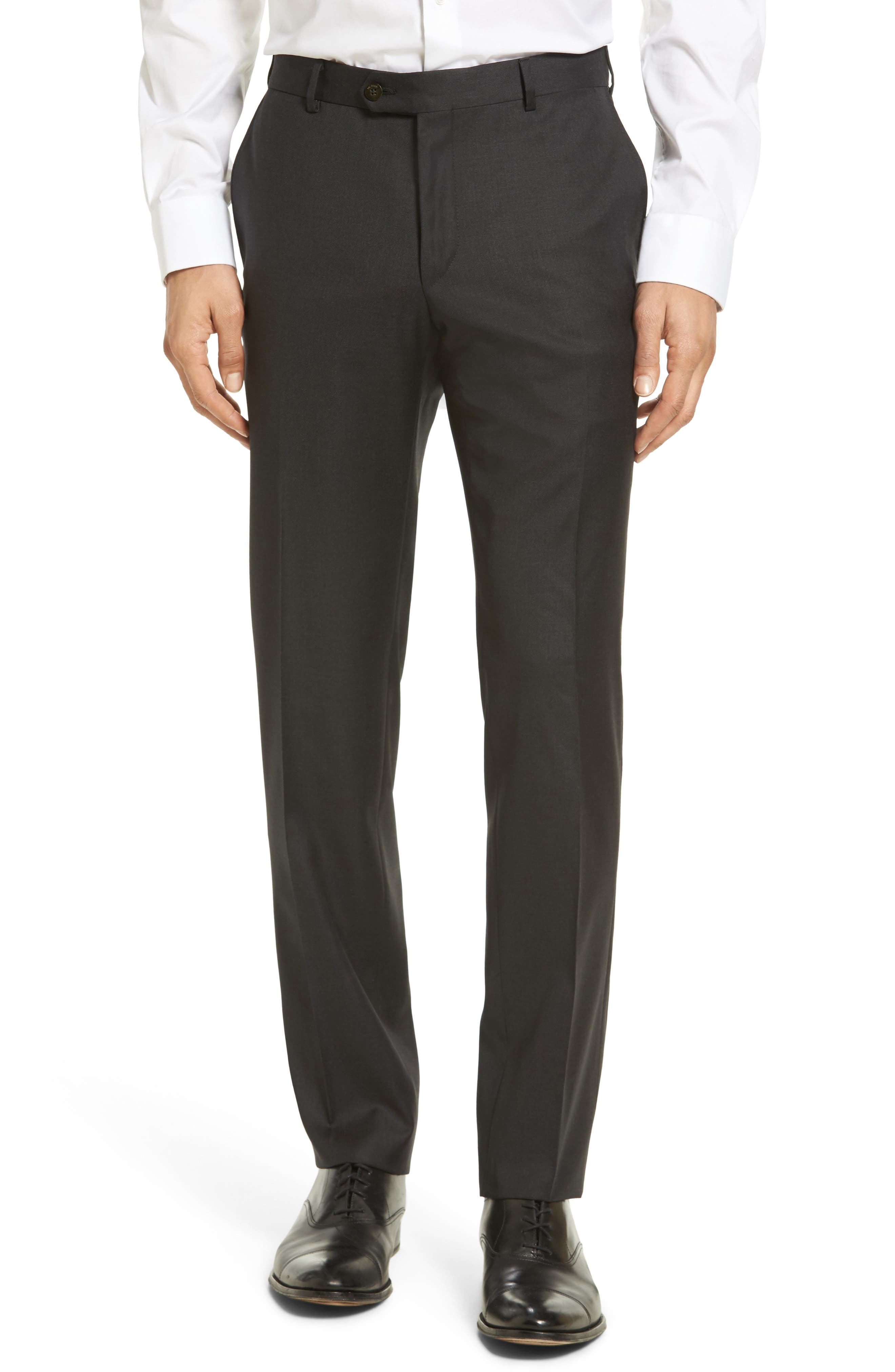 Flat Front Solid Wool Trousers,                             Main thumbnail 1, color,
