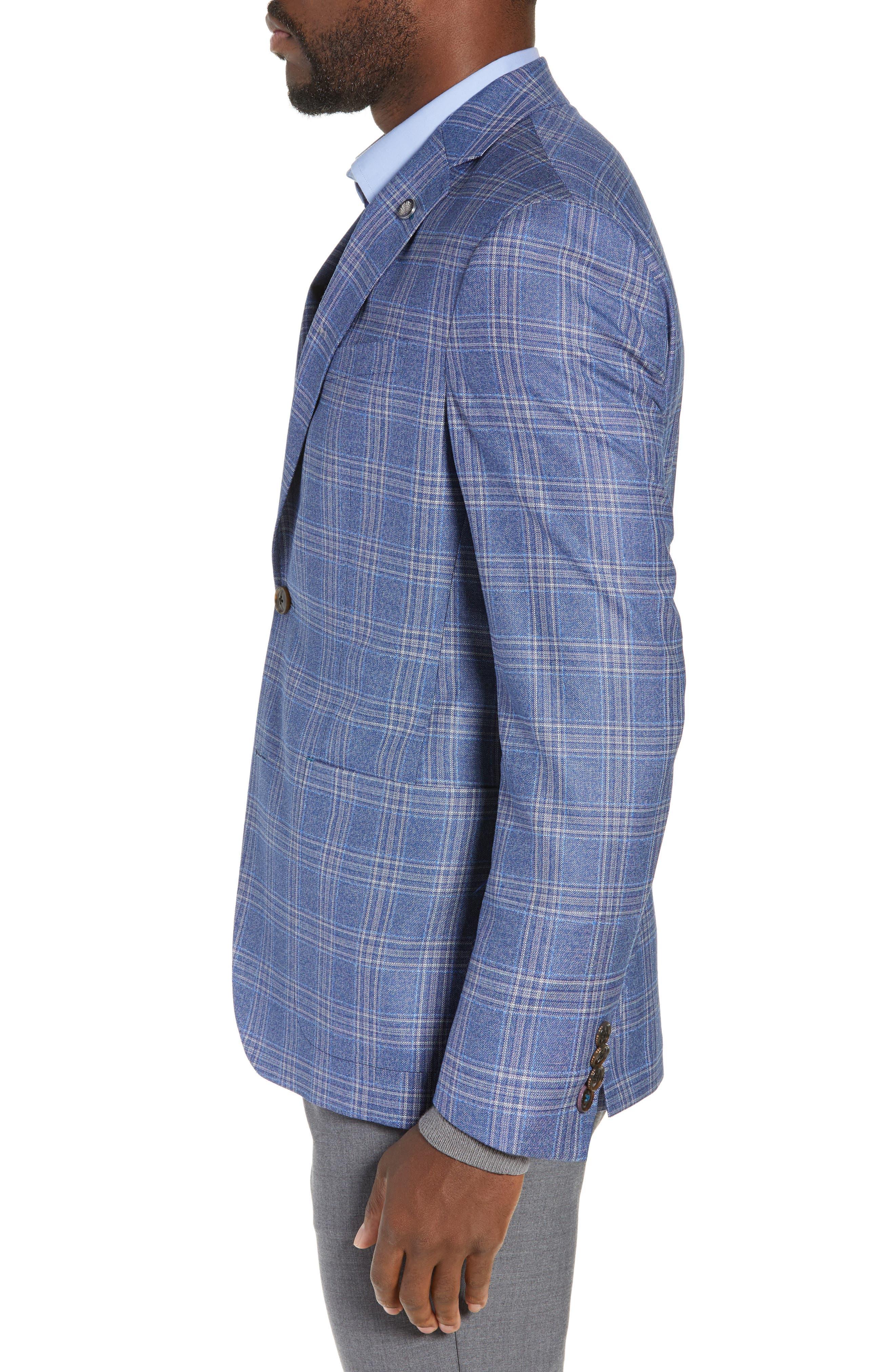Kyle Trim Fit Plaid Wool Sport Coat,                             Alternate thumbnail 3, color,                             LIGHT BLUE