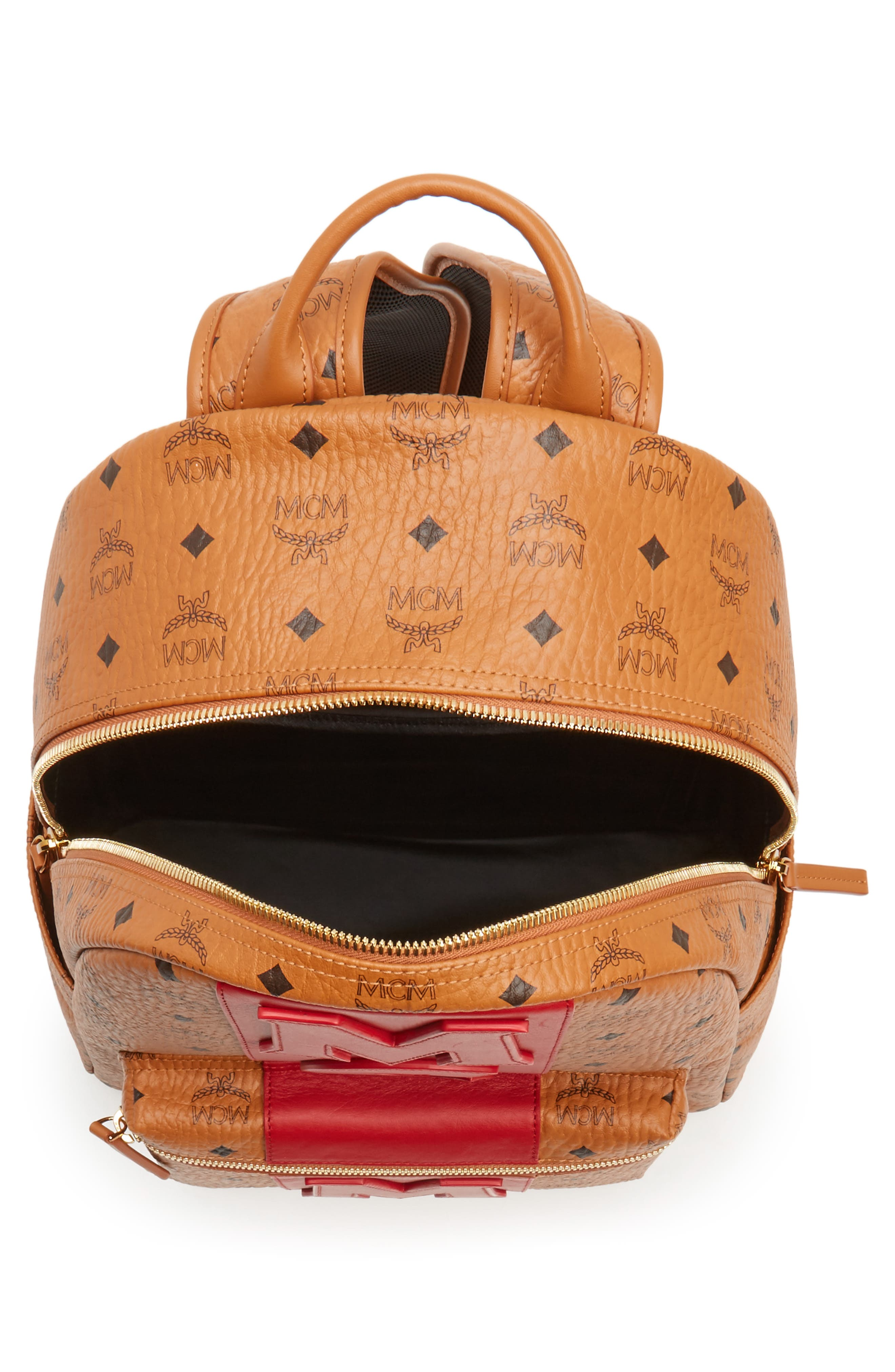 Stark Stripe Faux Leather Backpack,                             Alternate thumbnail 4, color,                             210