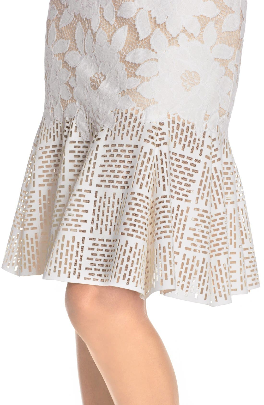 Lace & Cutout Neoprene Sheath Dress,                             Alternate thumbnail 3, color,                             904