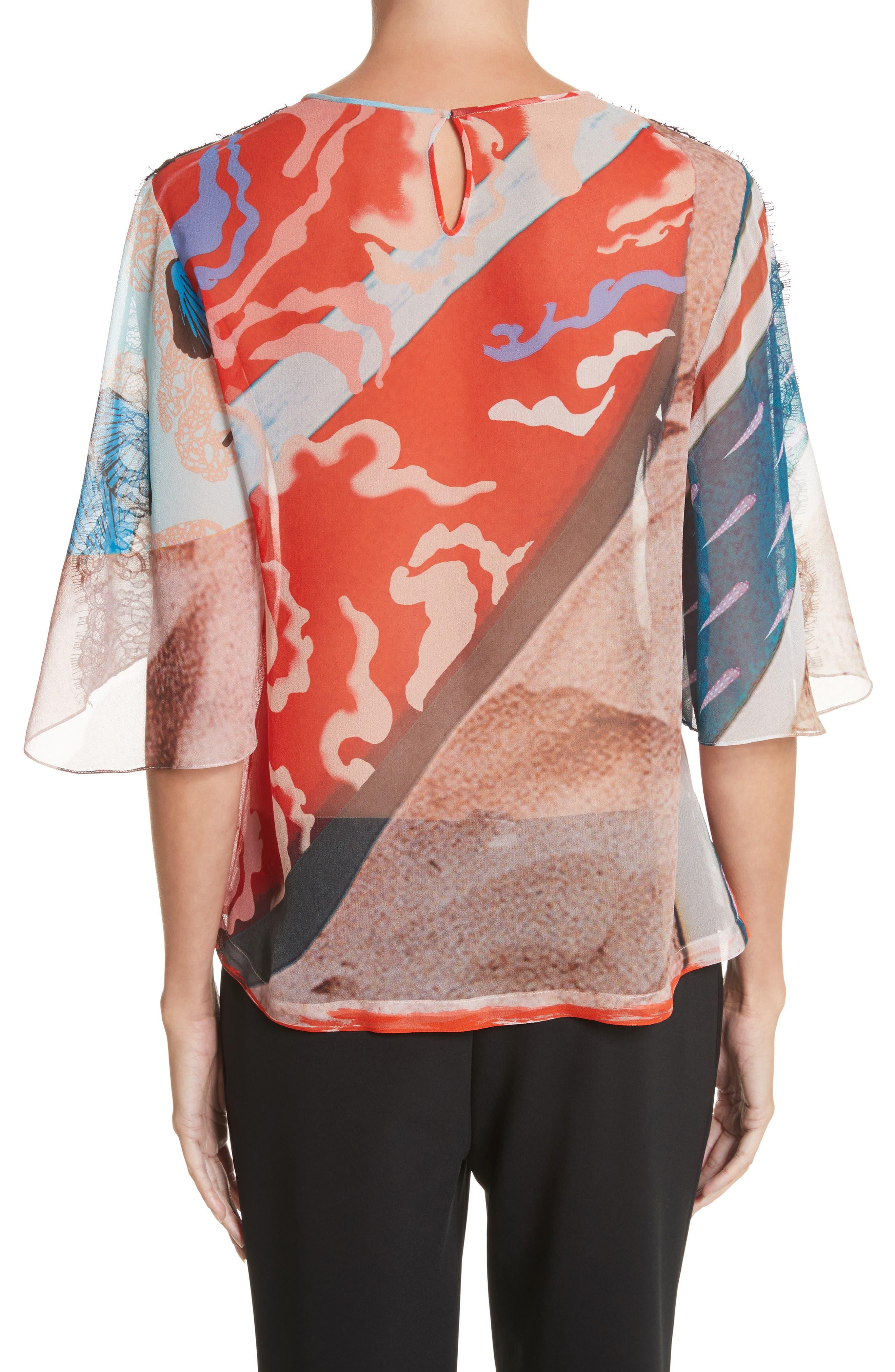 Lace & Print Silk Top,                             Alternate thumbnail 2, color,                             600