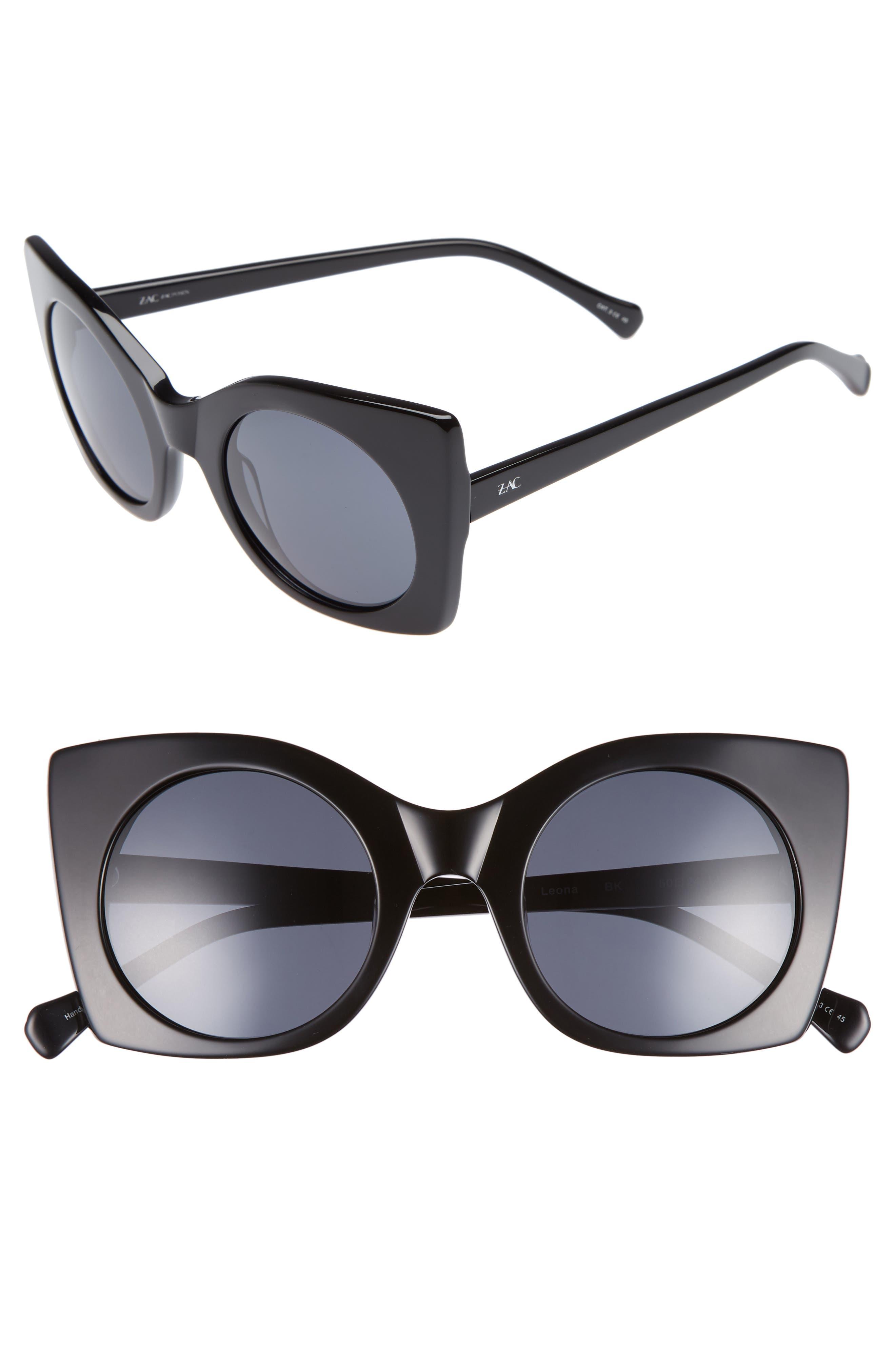 Leona 50mm Polarized Sunglasses,                             Main thumbnail 1, color,                             BLACK POLAR