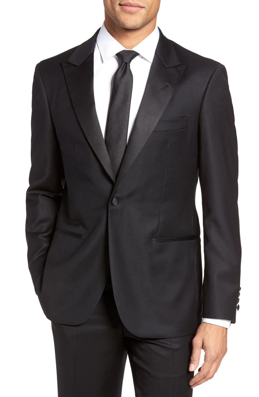 Aston Trim Fit Wool Dinner Jacket,                             Main thumbnail 1, color,                             001