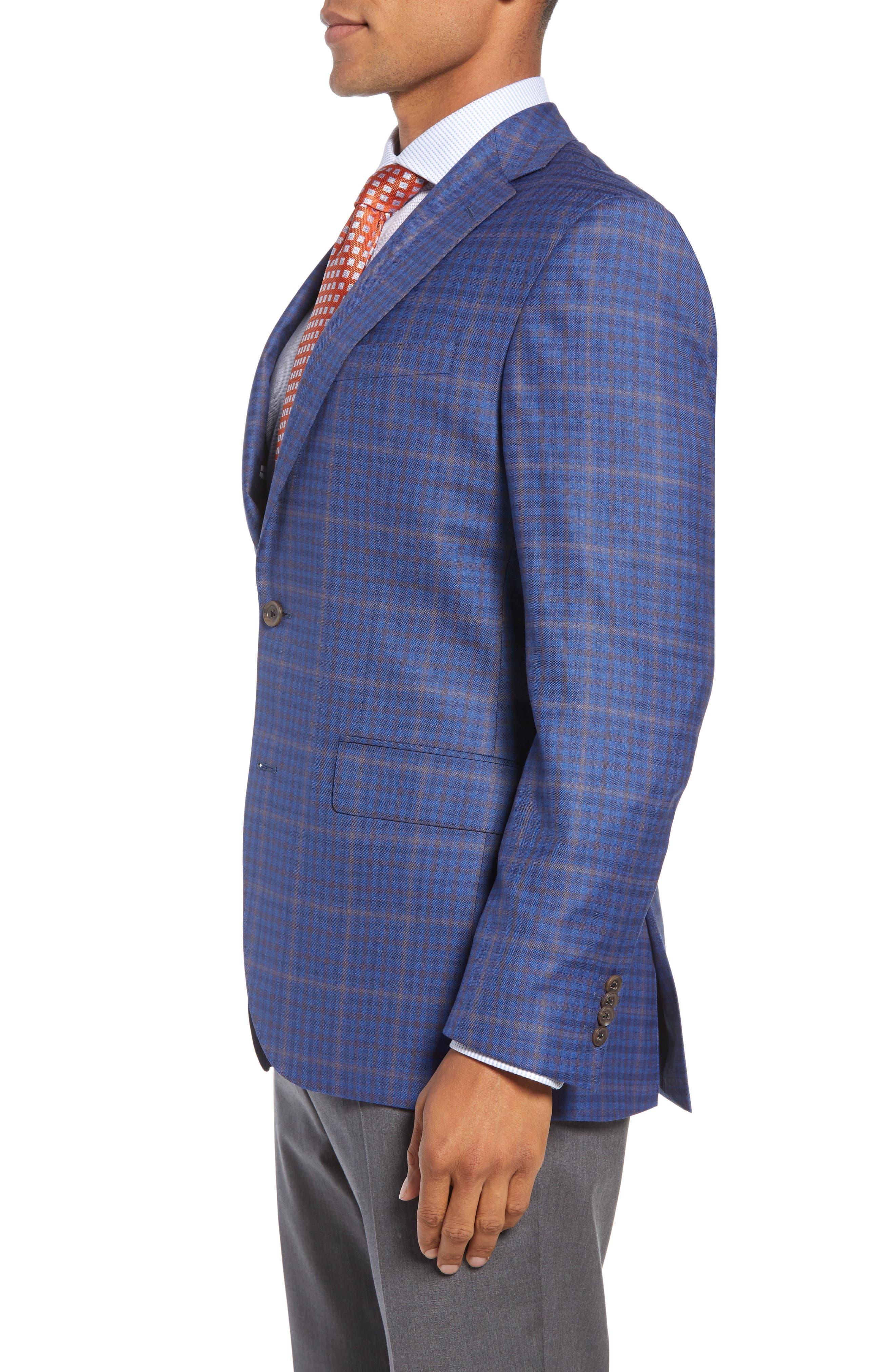 DAVID DONAHUE,                             Connor Classic Fit Plaid Wool Sport Coat,                             Alternate thumbnail 3, color,                             400