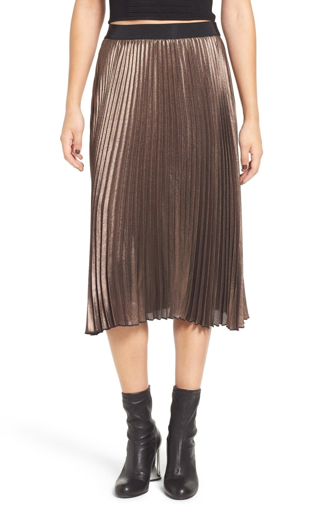 Metallic Pleated Midi Skirt, Main, color, 220