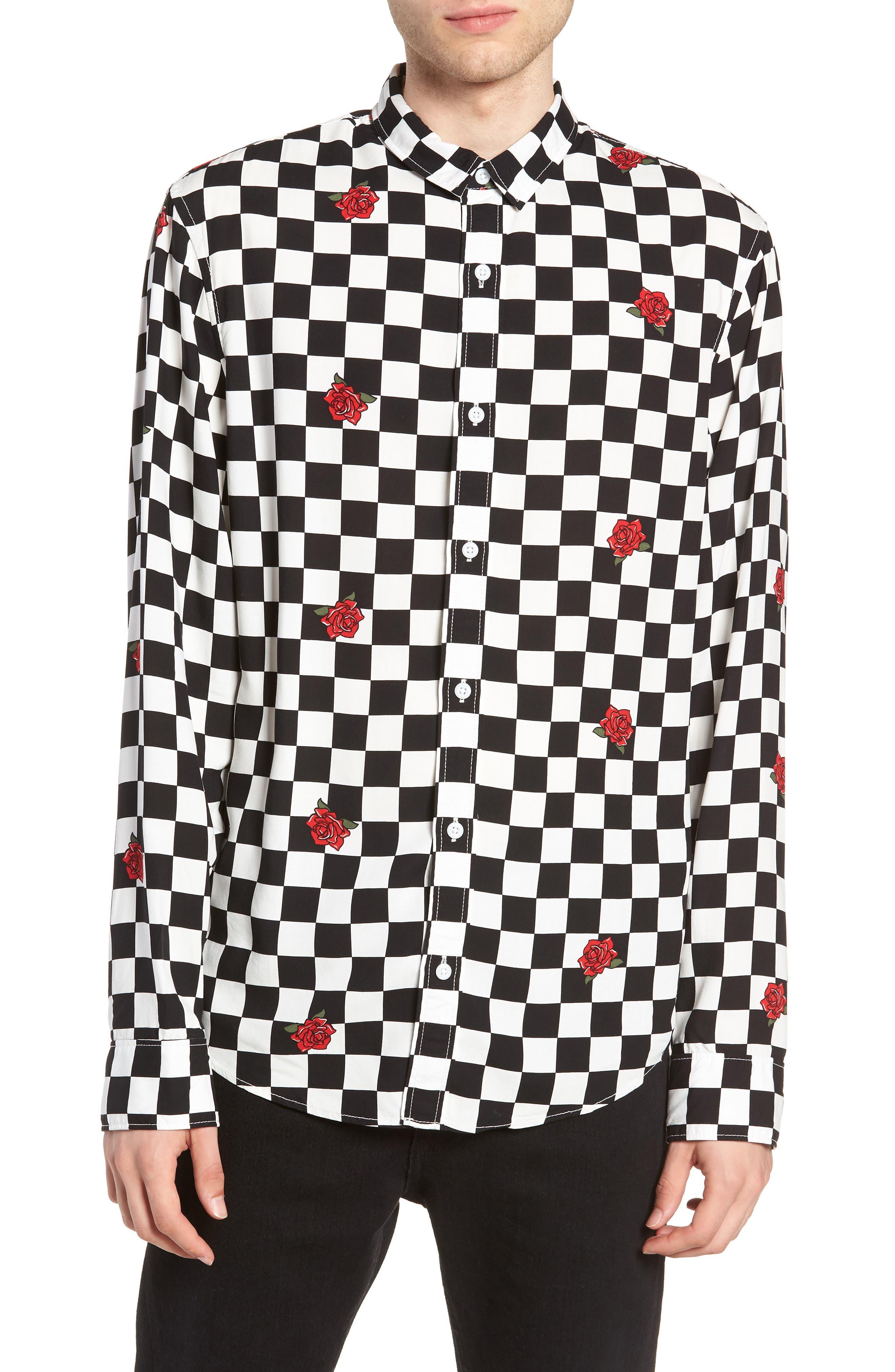 Checkerboard Rose Print Woven Shirt,                         Main,                         color, 001