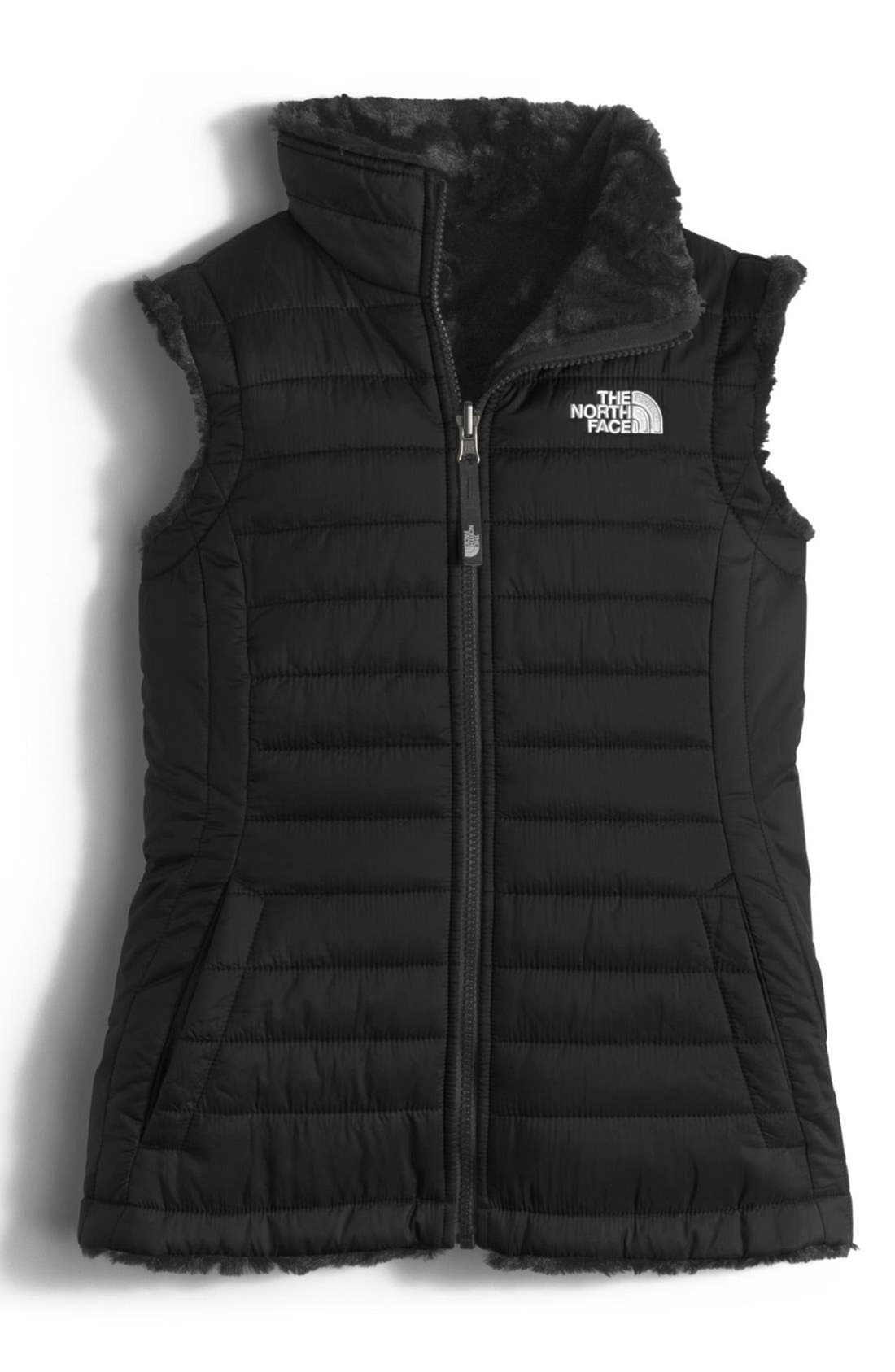 'Mossbud Swirl' Reversible Water Repellent Vest,                             Main thumbnail 1, color,                             TNF BLACK