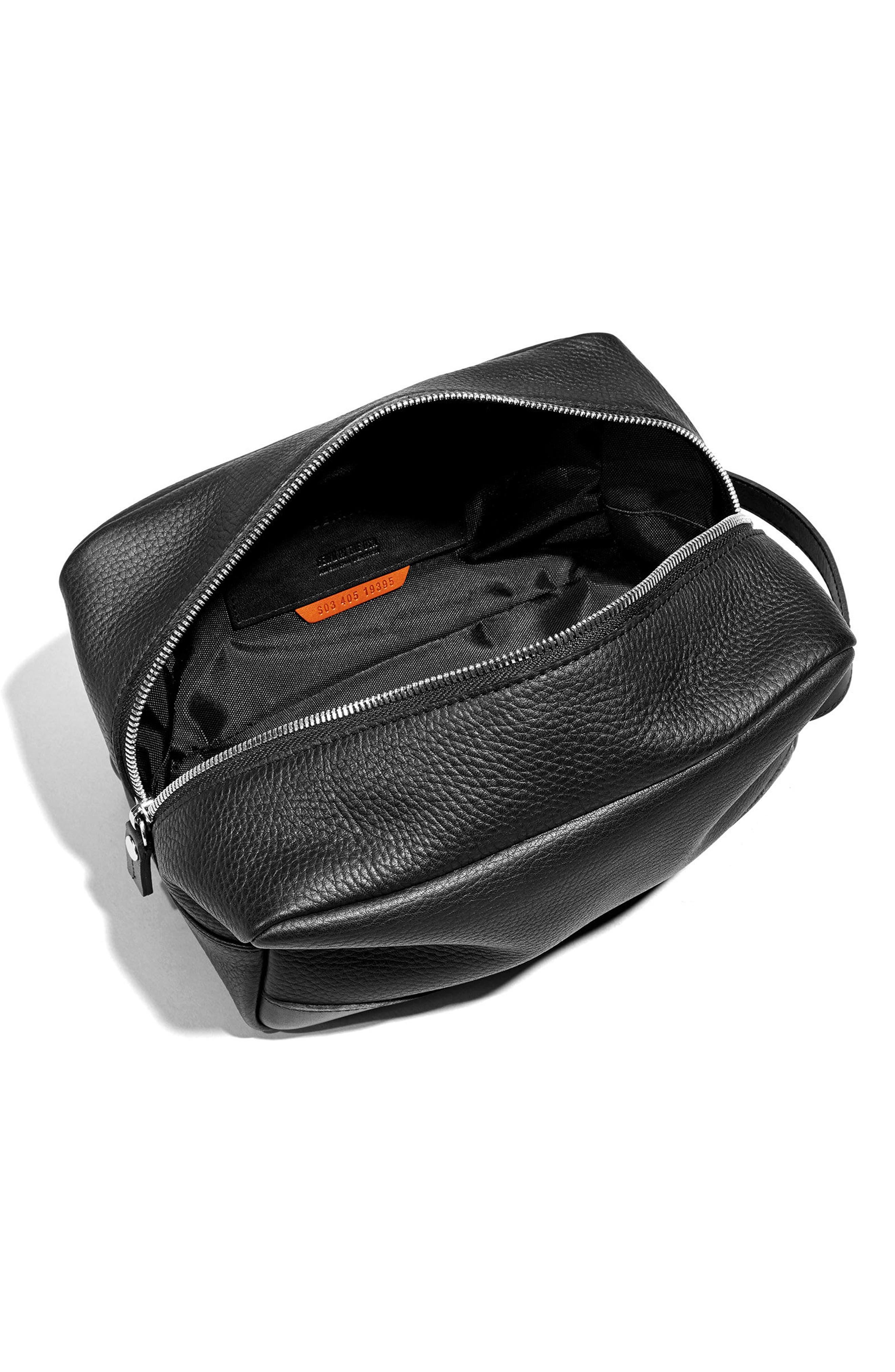 Leather Travel Kit,                             Alternate thumbnail 3, color,                             BLACK