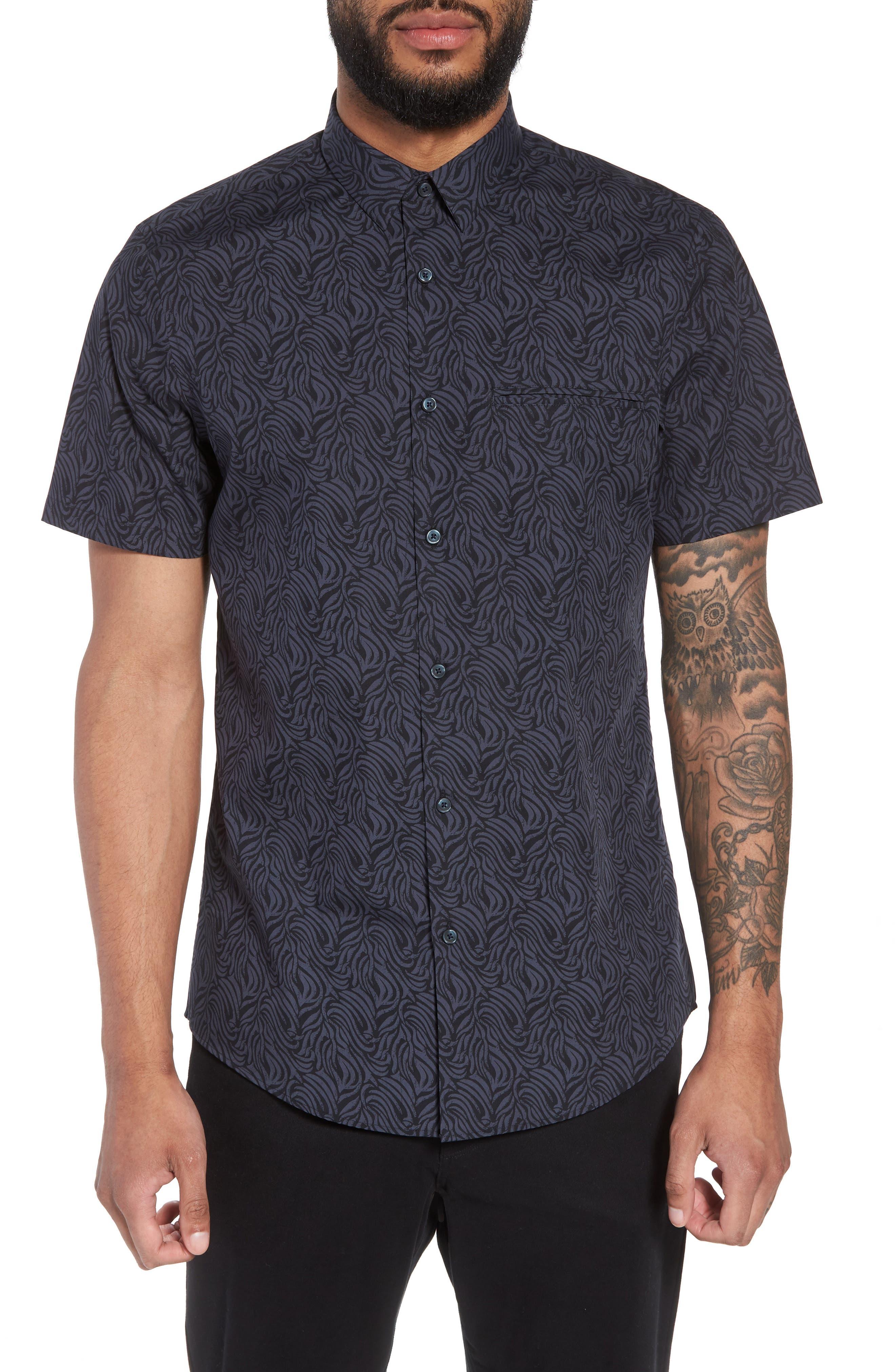 Trim Fit Print Welt Pocket Sport Shirt,                         Main,                         color, NAVY BLUE BLACK BRUSH STROKE