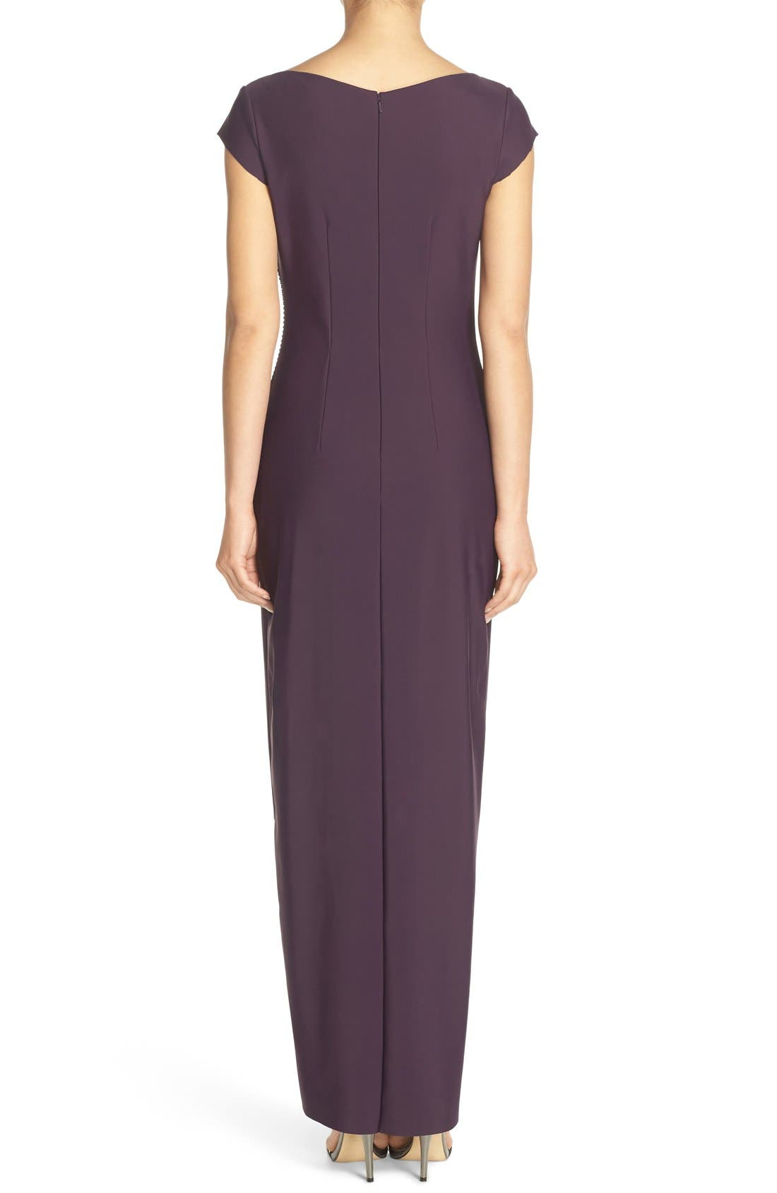 Embellished Jersey Column Gown,                             Alternate thumbnail 5, color,                             504