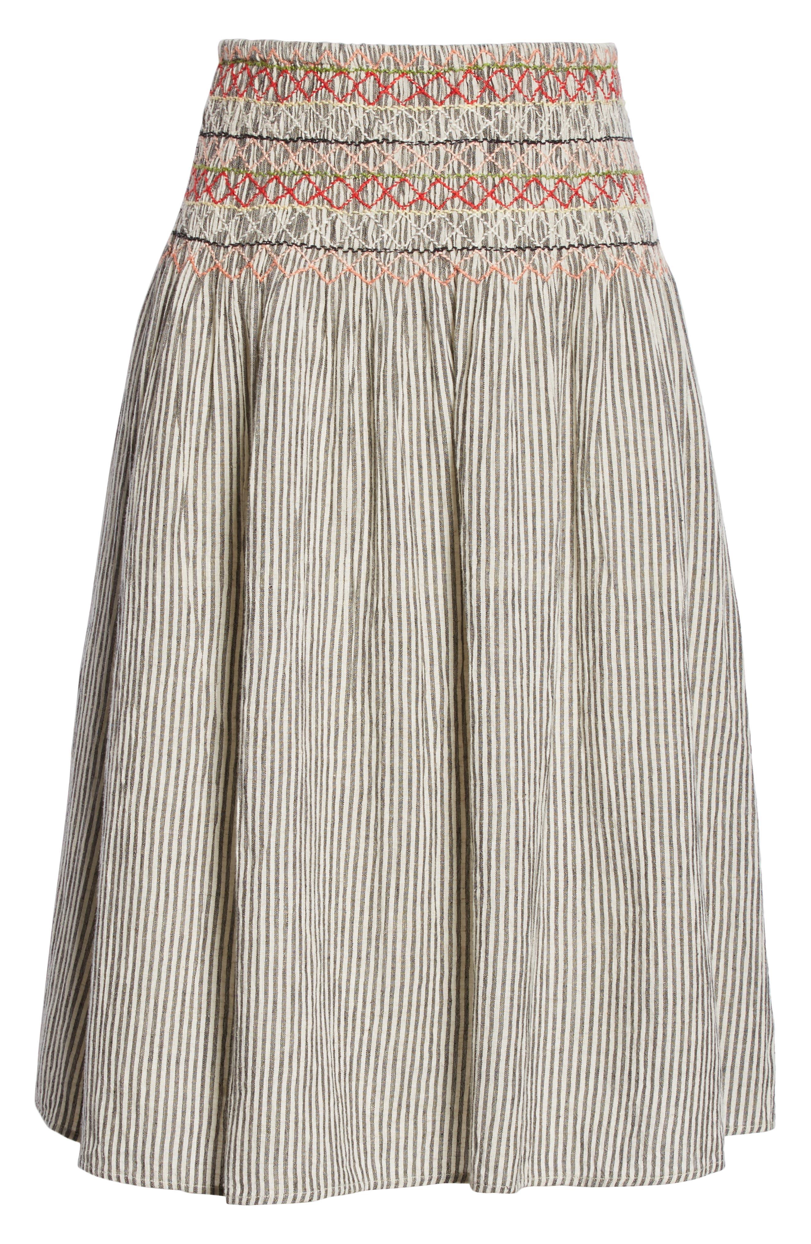 The Vista Cotton & Linen Skirt,                             Alternate thumbnail 6, color,