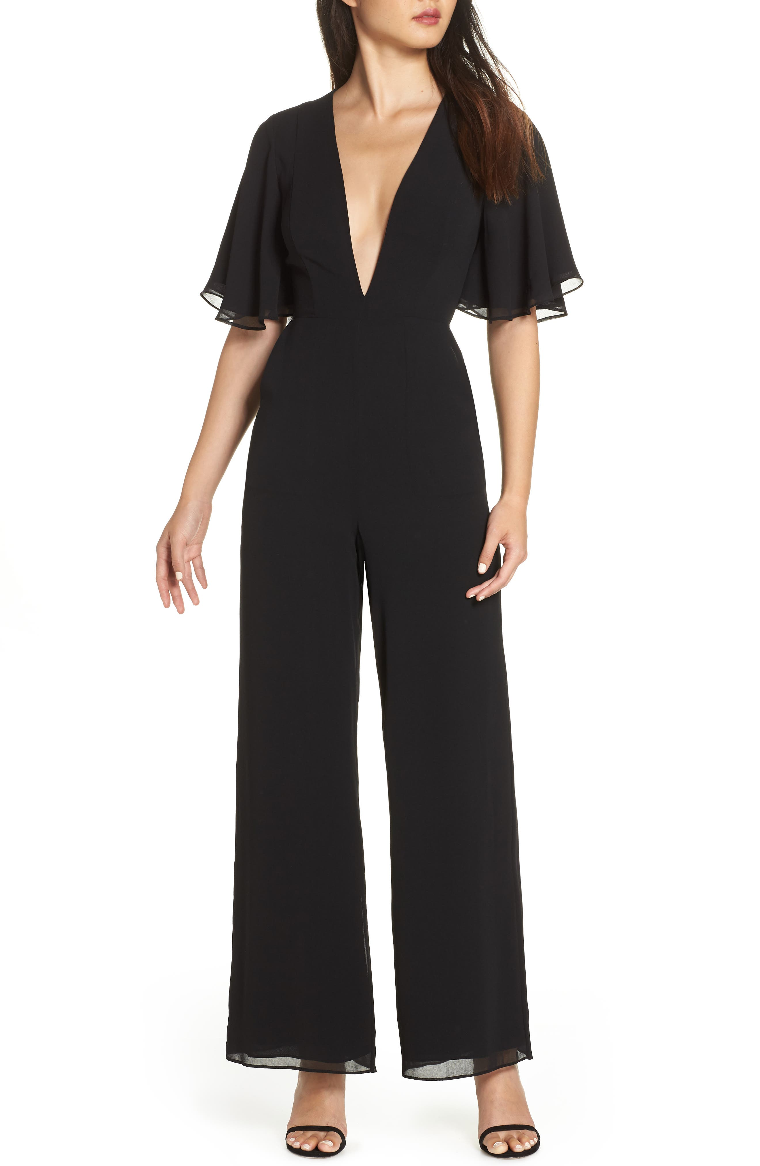 FAME AND PARTNERS The Colette Plunge Jumpsuit in Black