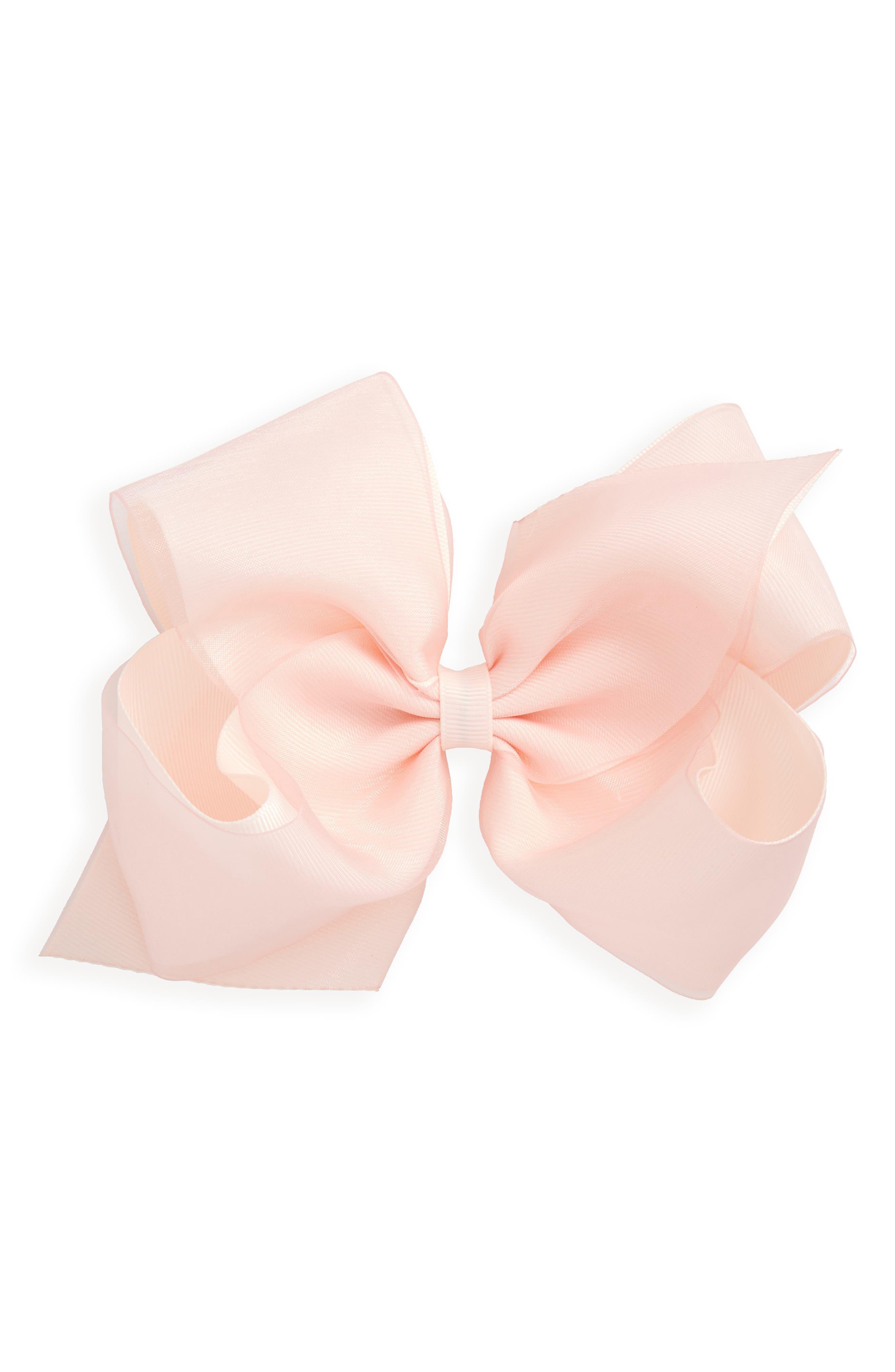 King Organza Overlay Bow Hair Clip,                         Main,                         color, SOFT ROSE