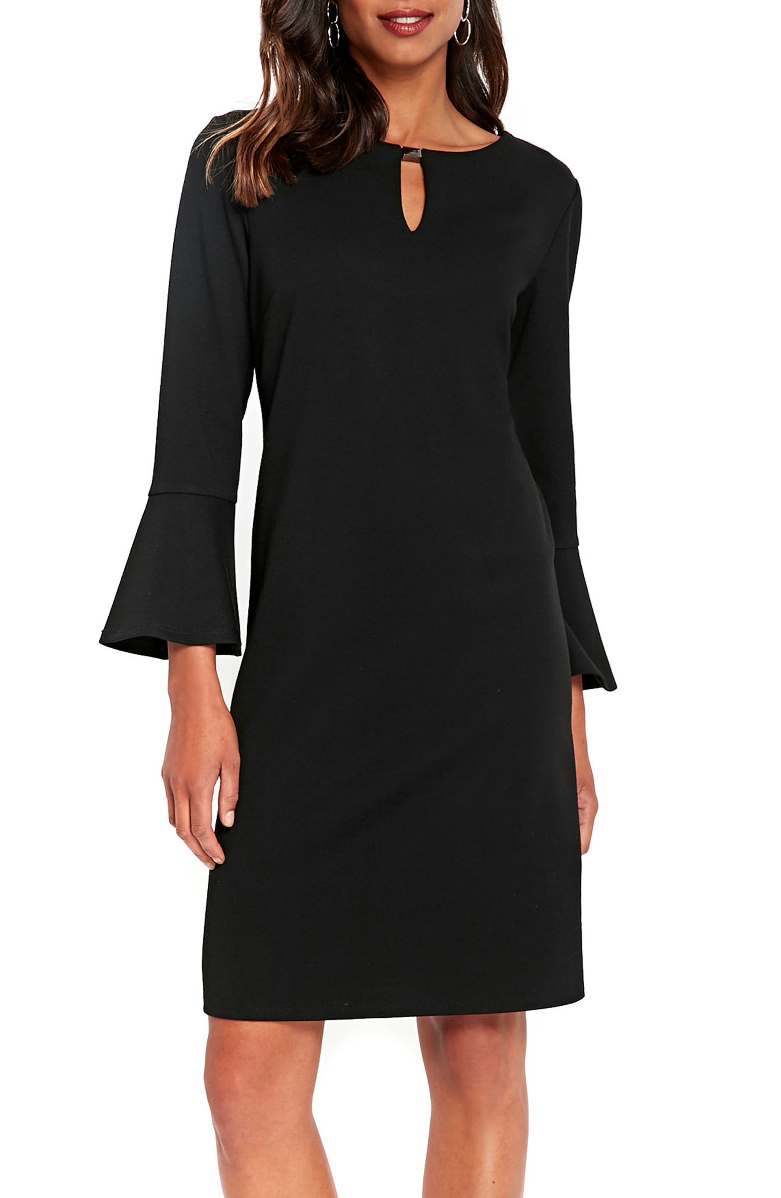 Bell Sleeve Keyhole Neck Dress,                             Main thumbnail 1, color,