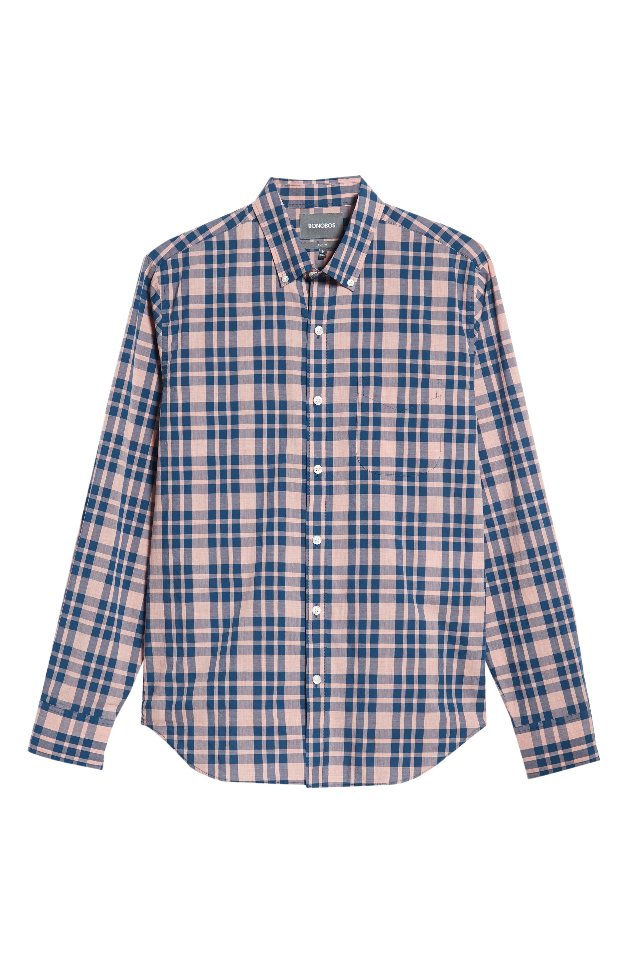 Summerweight Slim Fit Check Sport Shirt,                             Alternate thumbnail 5, color,                             HARDY PLAID - HEATHER ROSE
