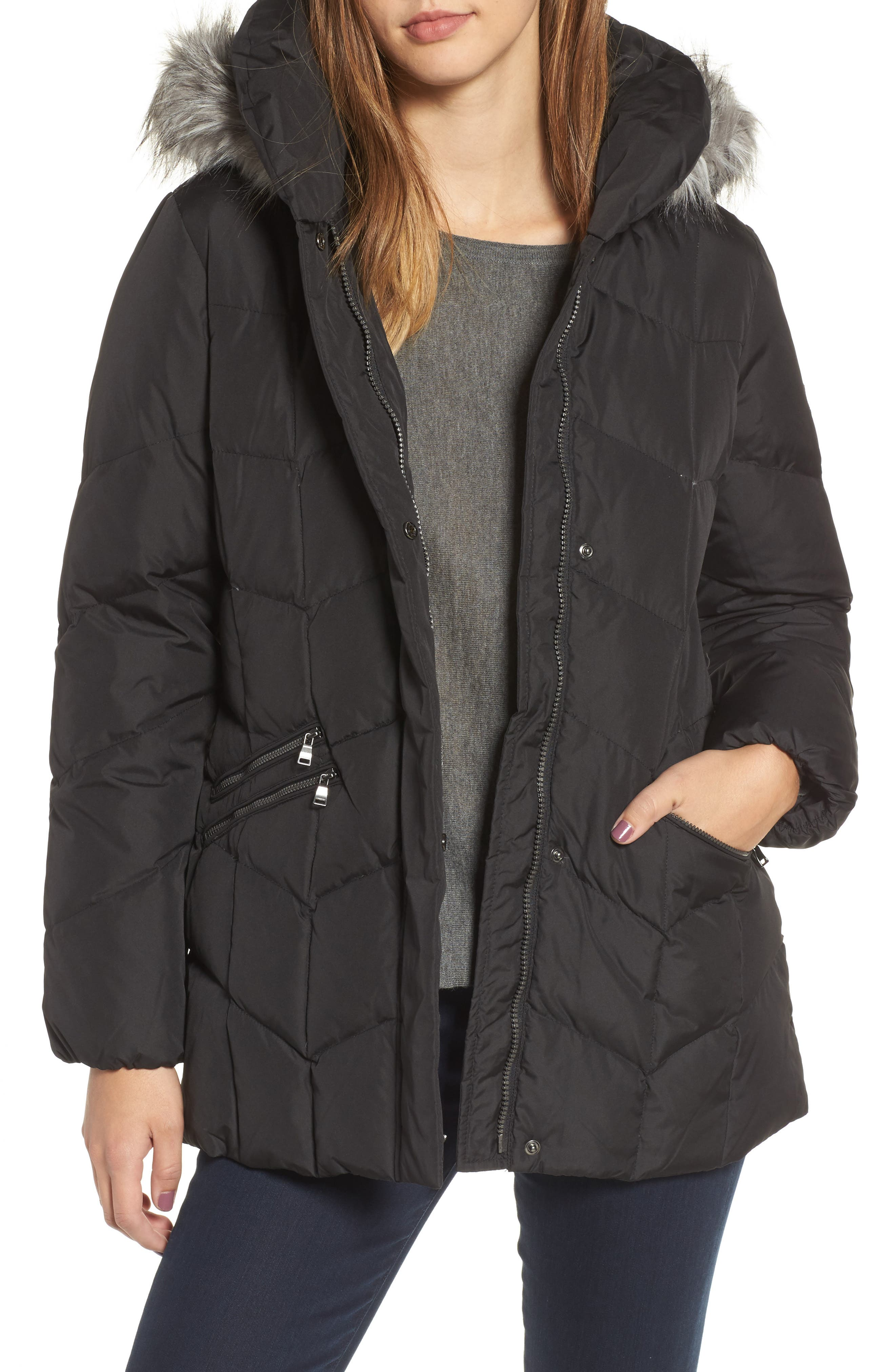 Quilted Coat with Faux Fur Trim,                         Main,                         color, 001