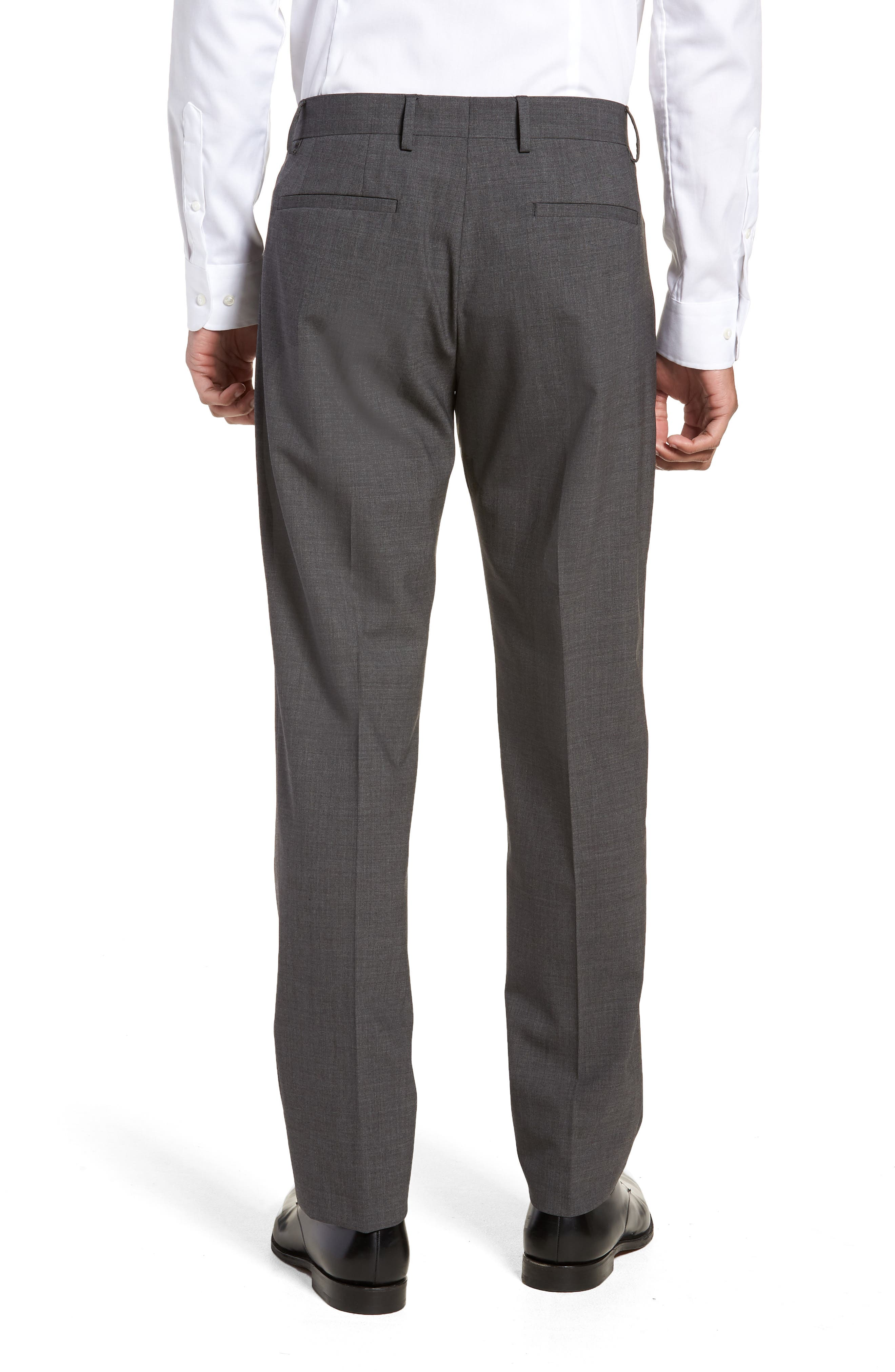 Pleat Front Stretch Solid Wool Trousers,                             Alternate thumbnail 2, color,                             024