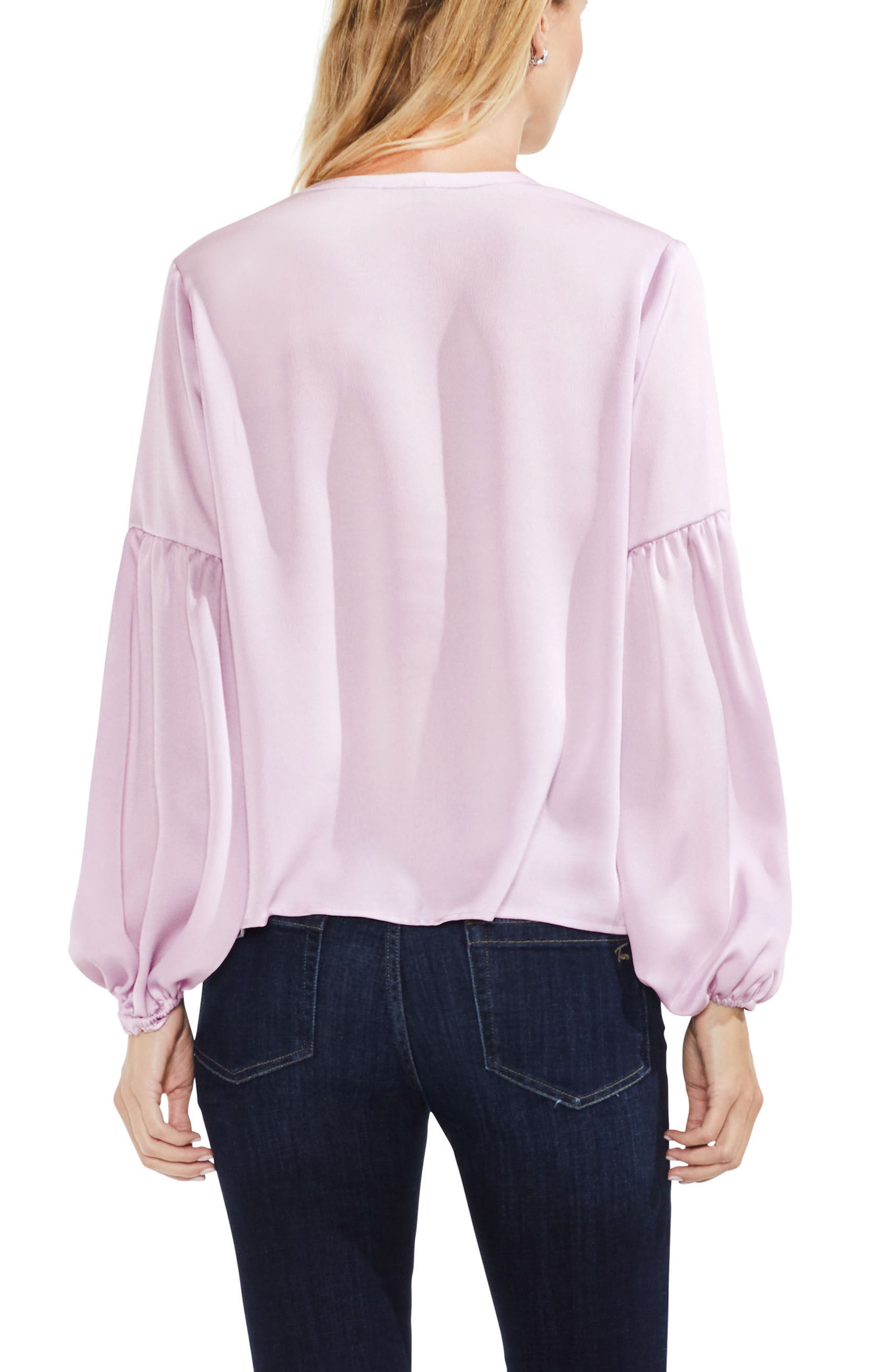Lace-Up Hammered Satin Blouse,                             Alternate thumbnail 18, color,