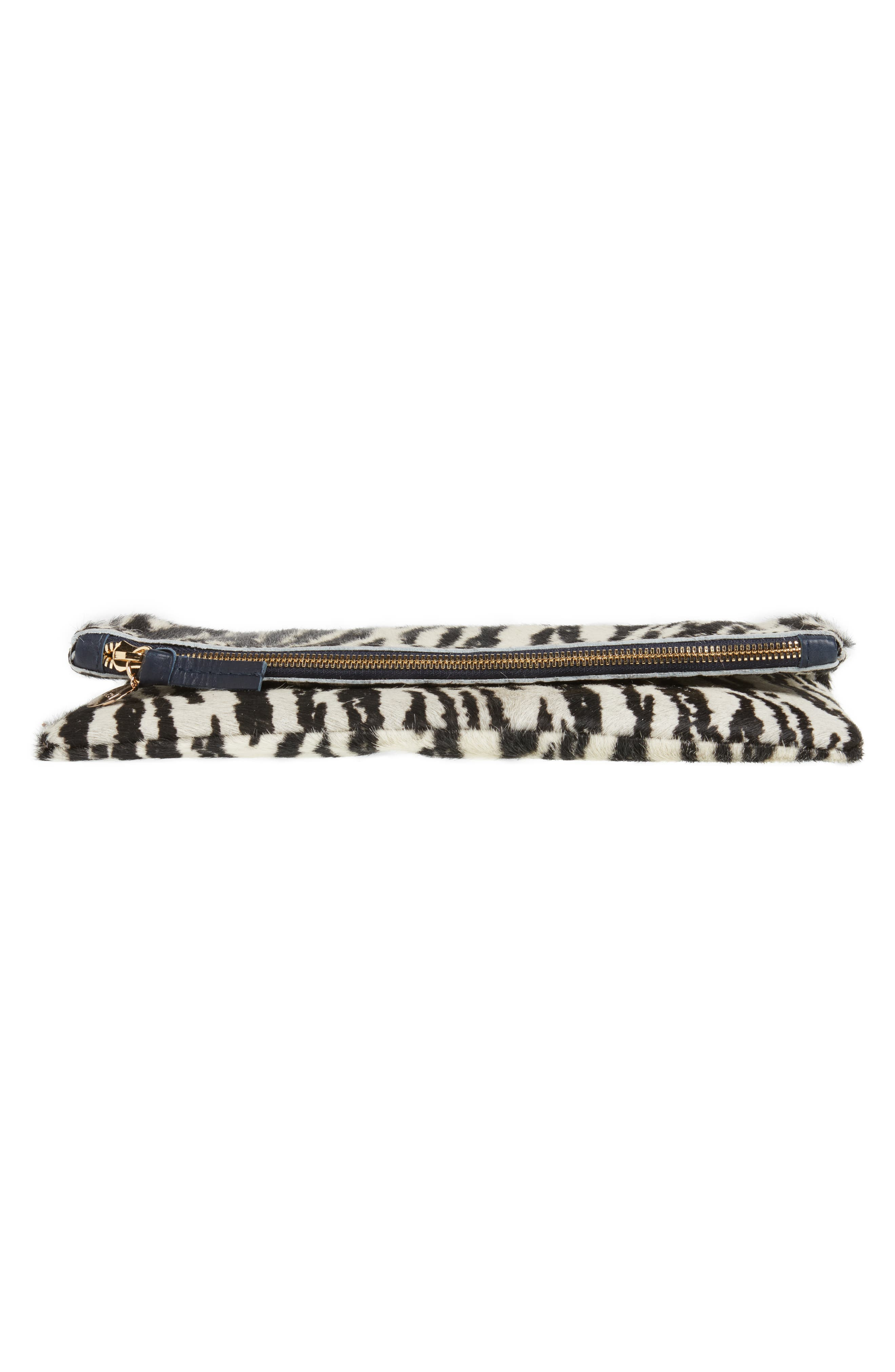 Zebra Print Genuine Calf Hair Foldover Clutch,                             Alternate thumbnail 6, color,                             900