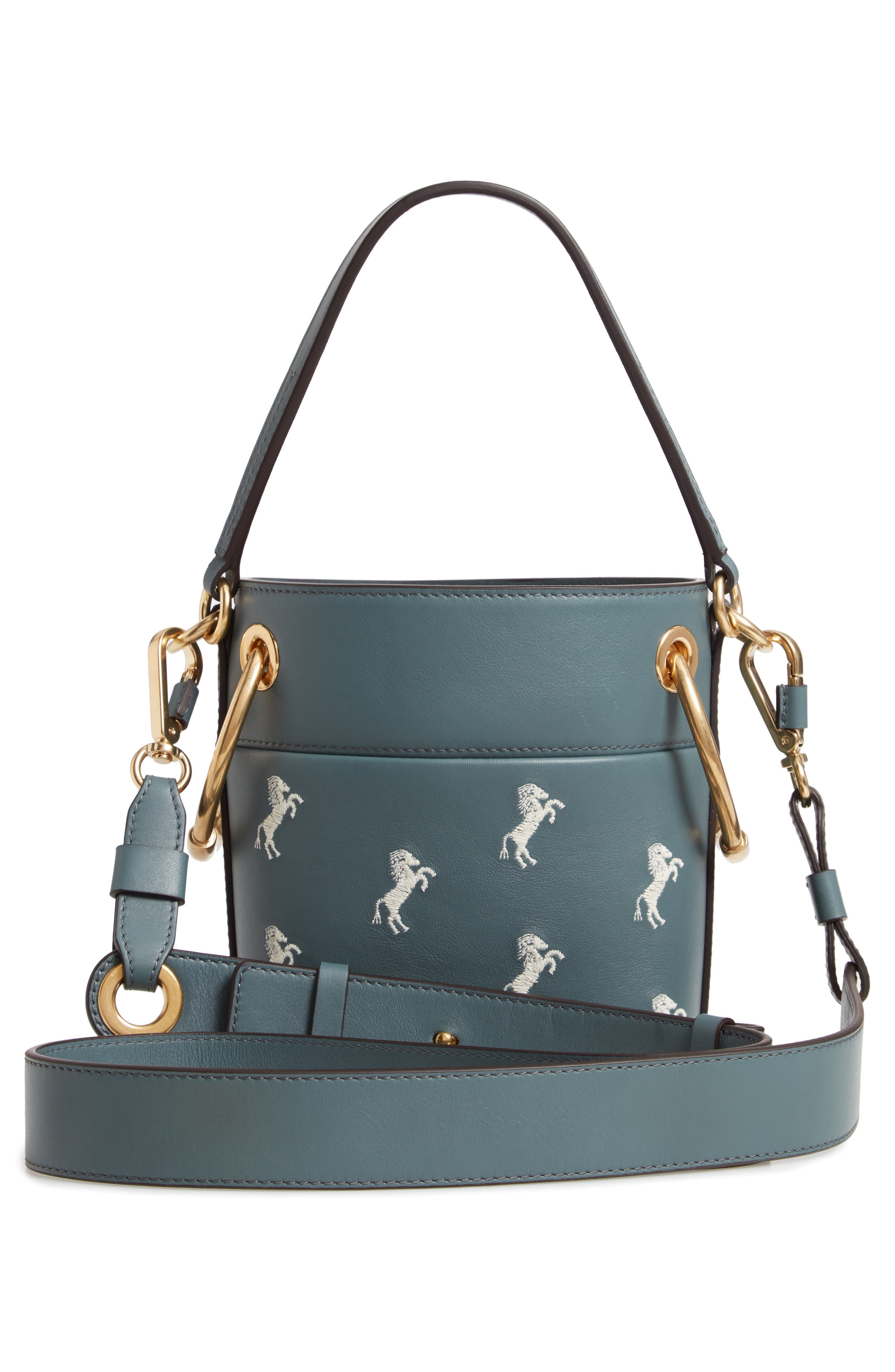 Roy Mini Embroidered Leather Bucket Bag,                             Alternate thumbnail 3, color,                             CLOUDY BLUE