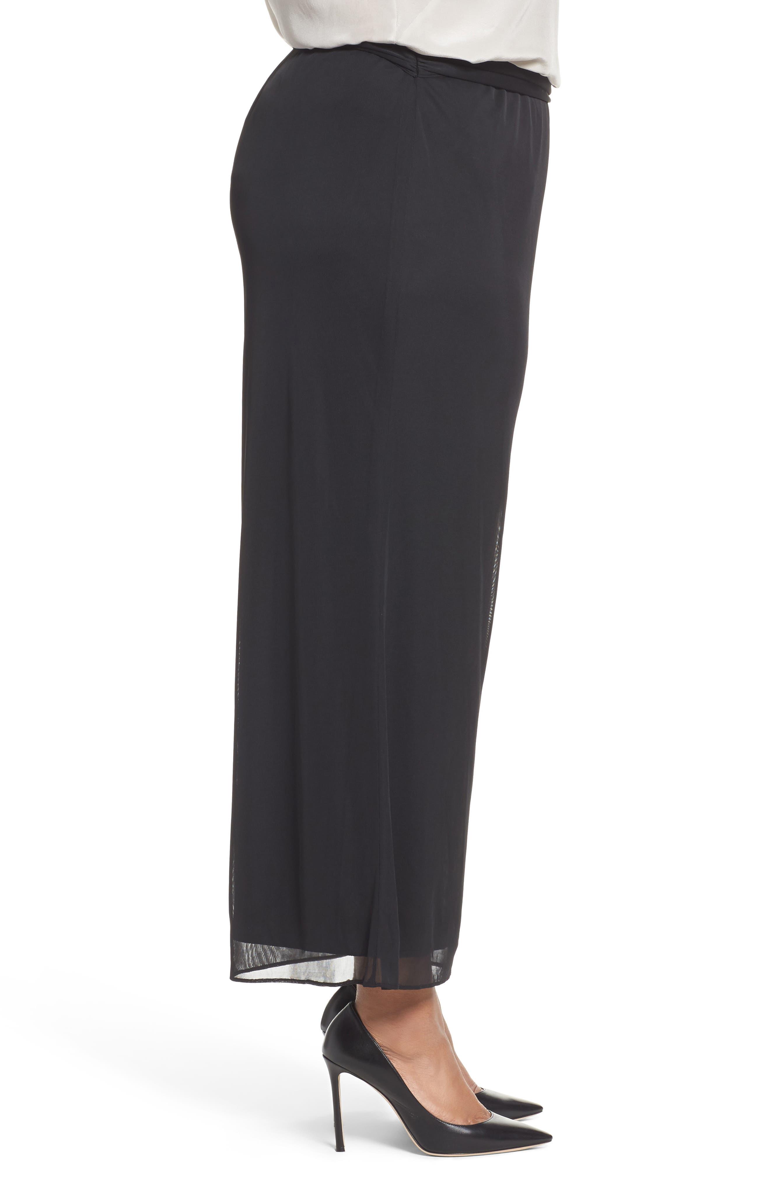 High Rise Tie Waist Wide Leg Pants,                             Alternate thumbnail 3, color,                             BLACK