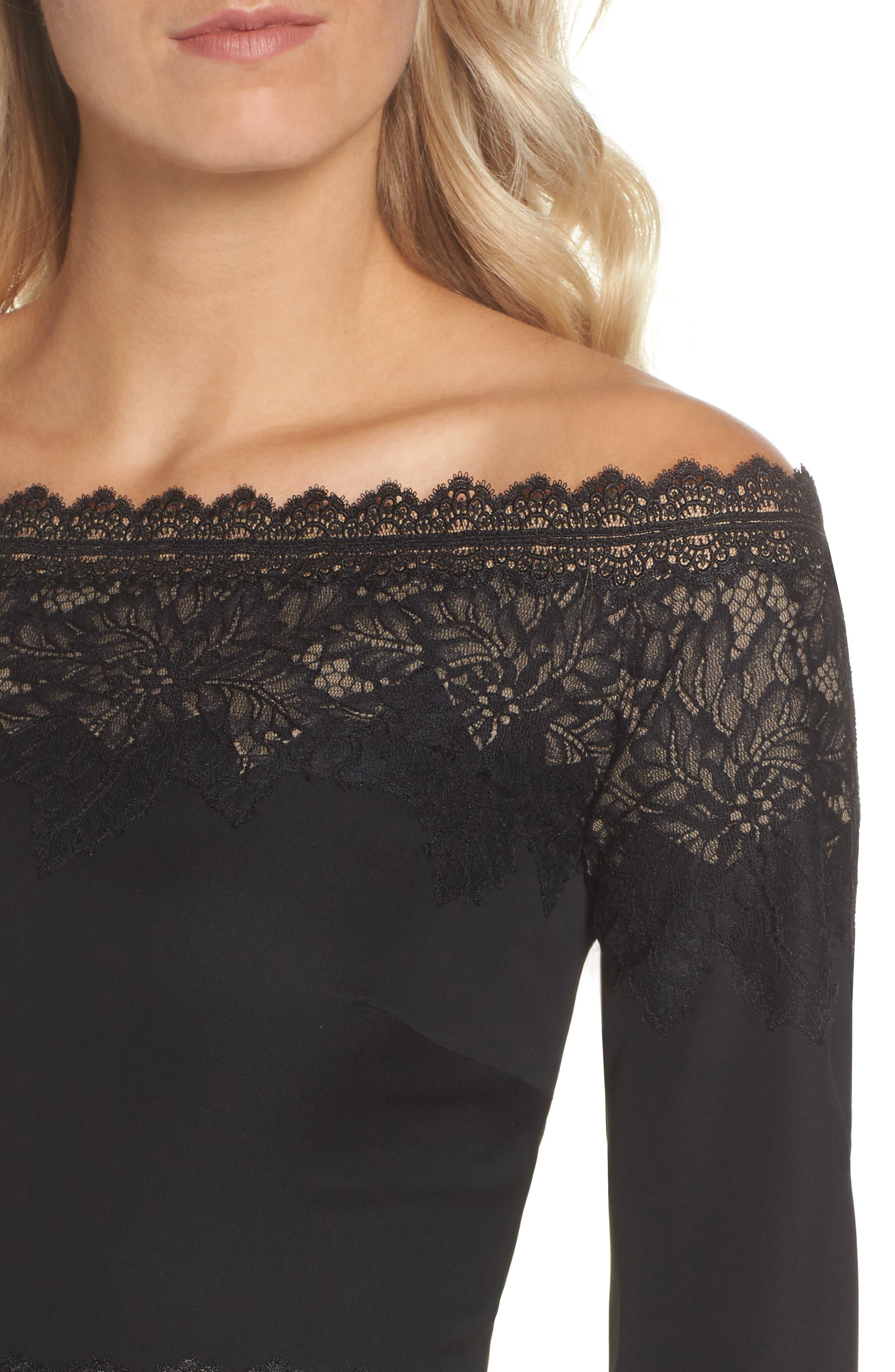 Lace & Crepe Gown,                             Alternate thumbnail 4, color,                             BLACK