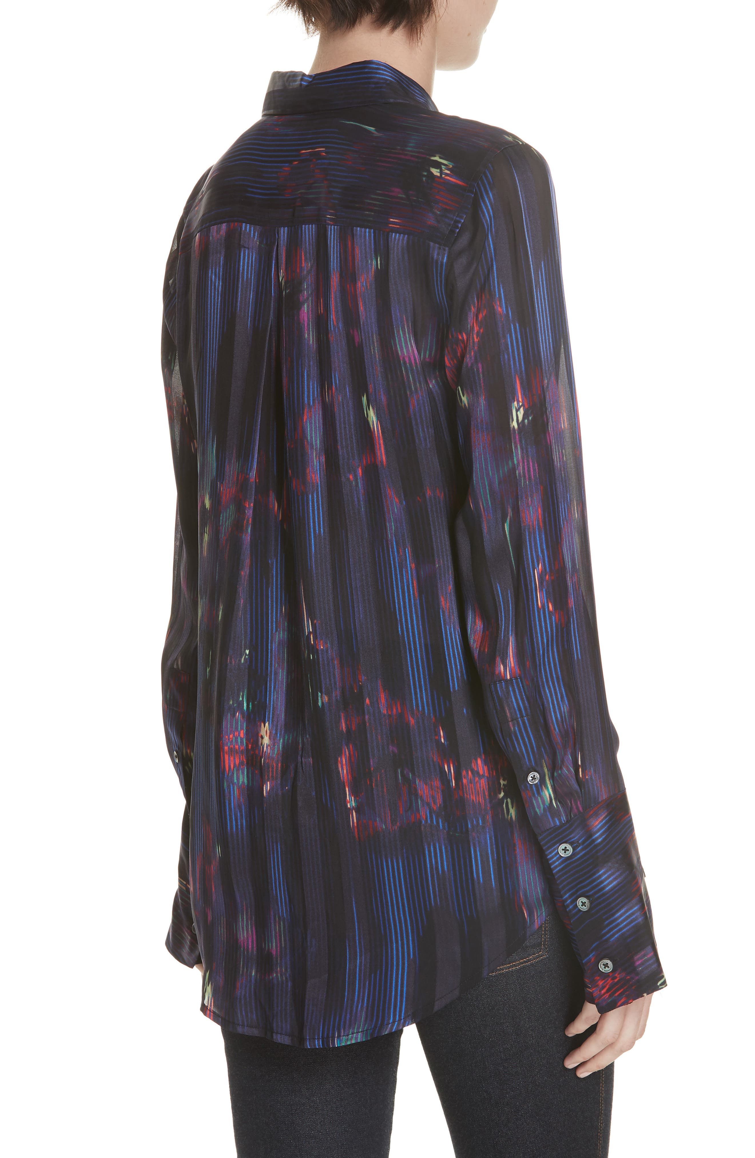 Eleonore Print Silk Blend Shirt,                             Alternate thumbnail 2, color,                             ECLIPSE MULTI