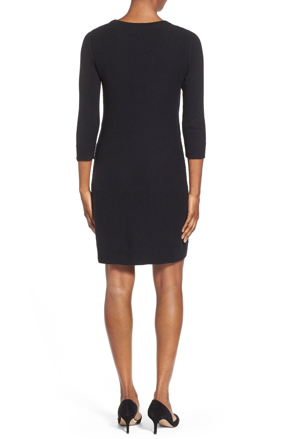 Cable Knit Sweater Dress,                             Alternate thumbnail 2, color,                             001