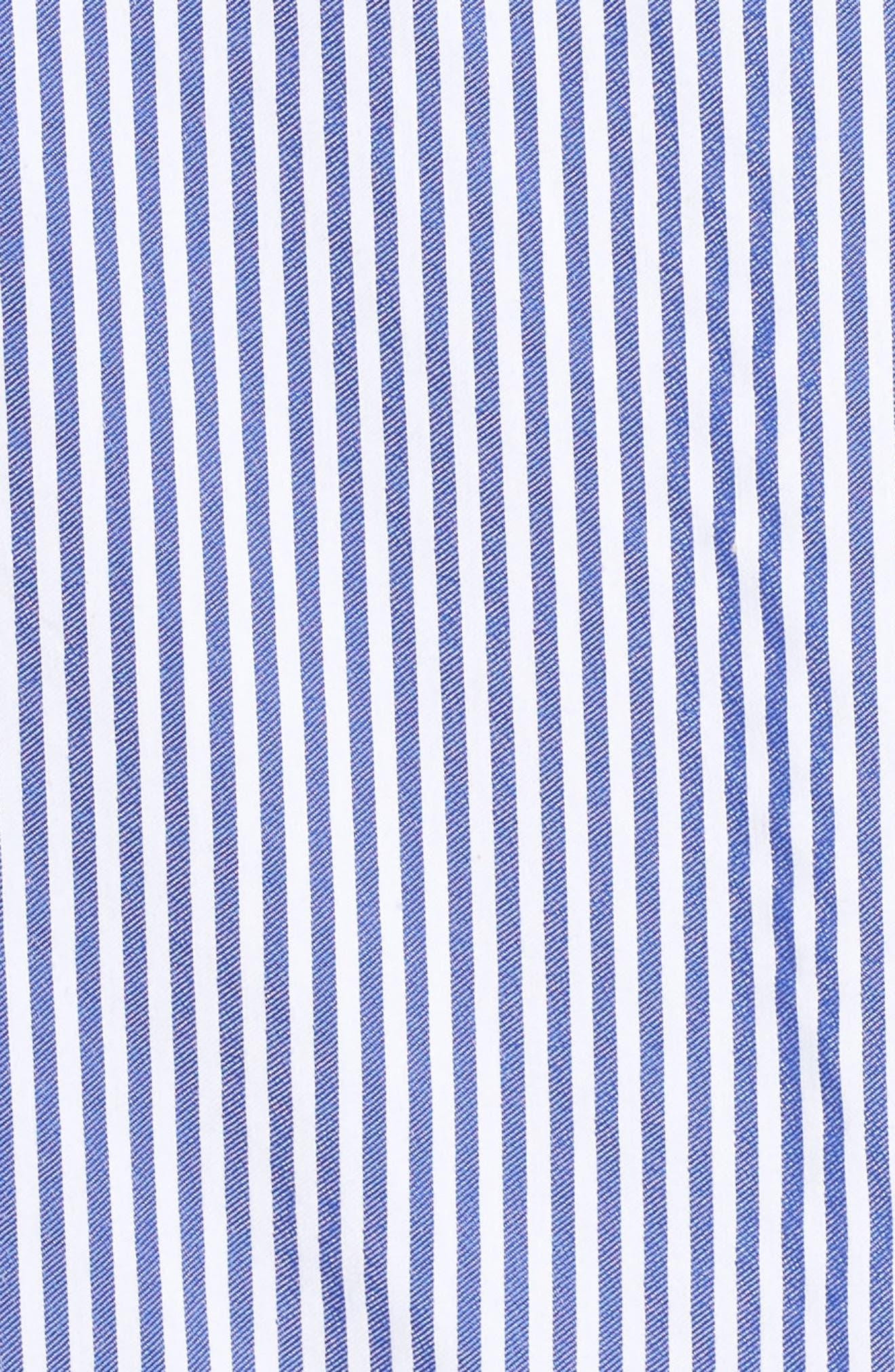 Embroidered Hem Stripe Off the Shoulder Shift Dress,                             Alternate thumbnail 5, color,                             BLUE/ WHITE