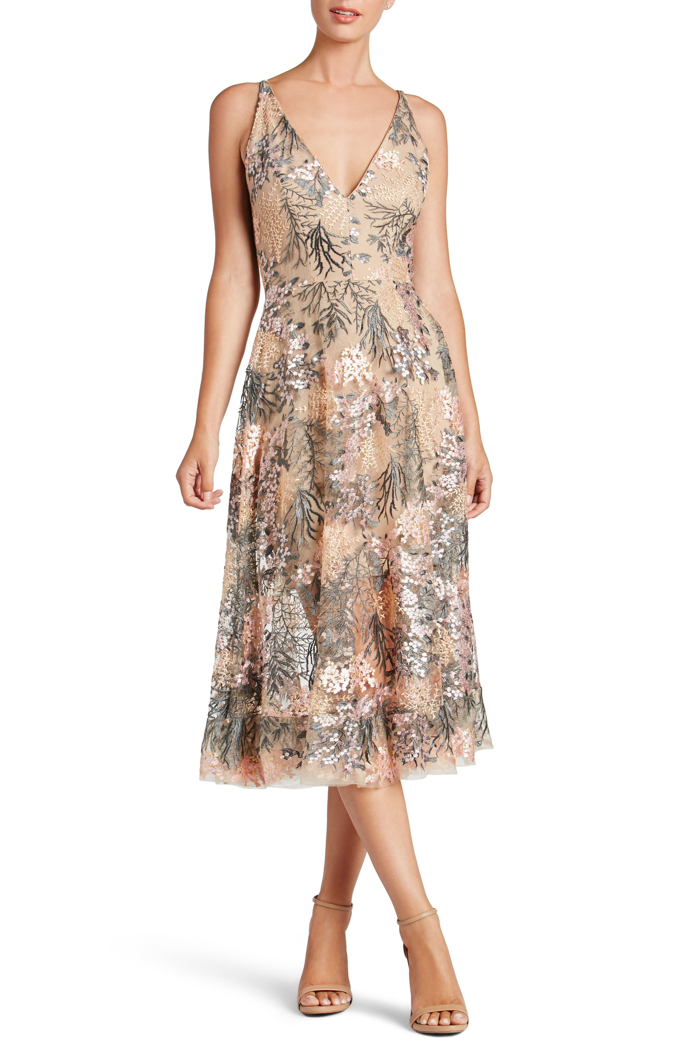Audrey Embroidered Fit & Flare Dress,                             Main thumbnail 1, color,                             PINK BLOSSOM