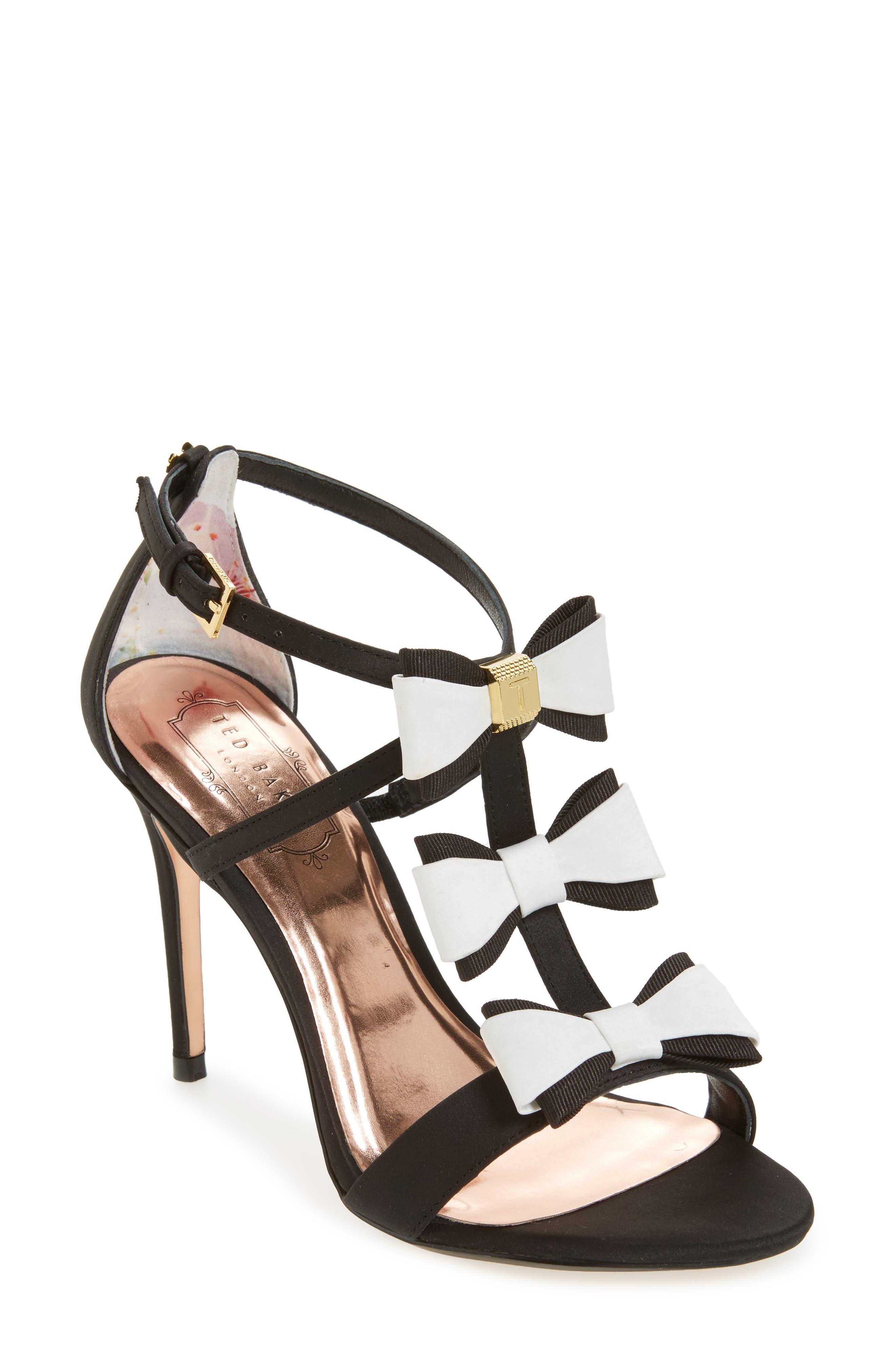 Ted Baker Appolini Bow Sandal,                             Main thumbnail 1, color,                             002