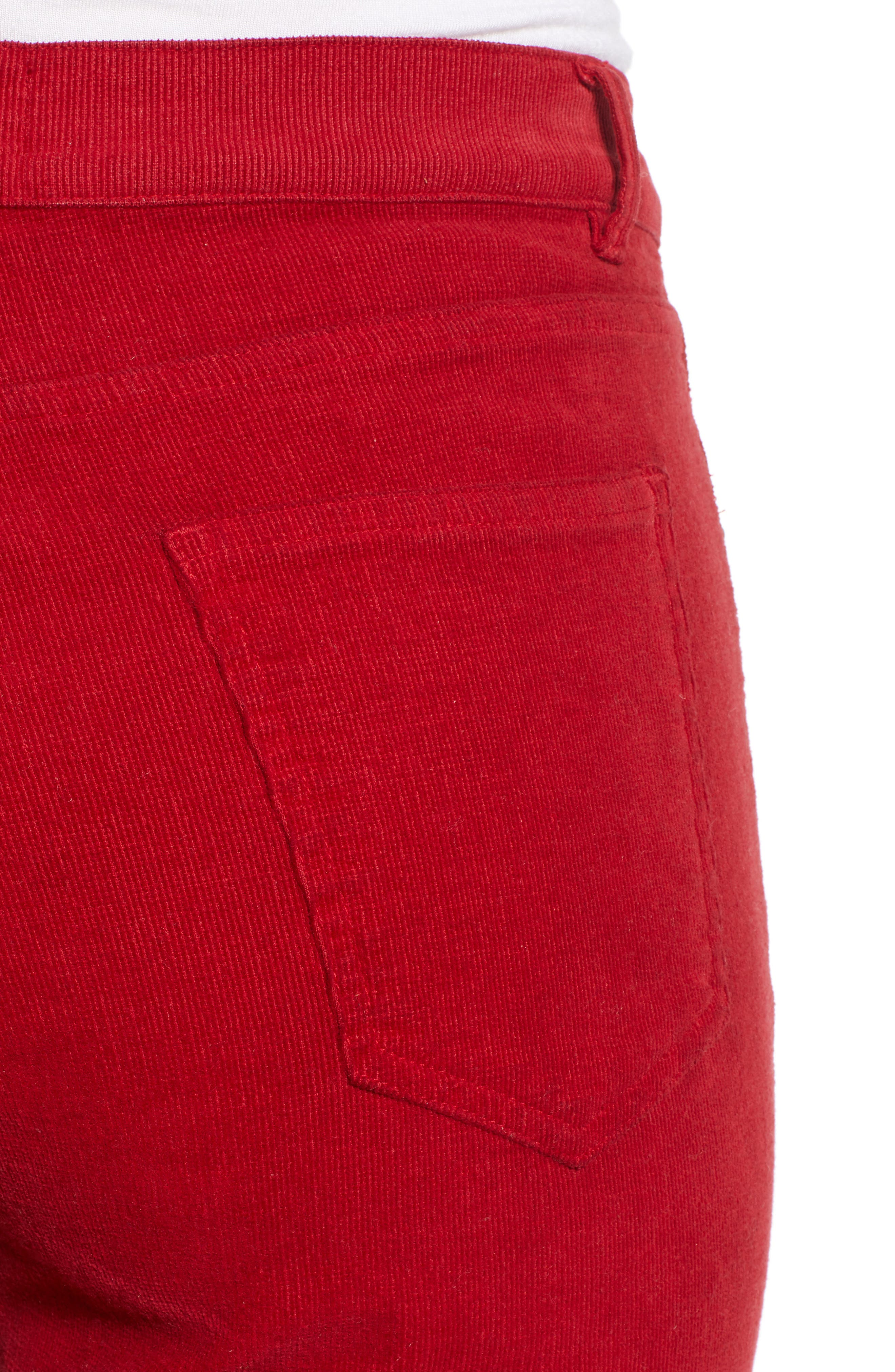 Corduroy Slim Crop Flare Pants,                             Alternate thumbnail 4, color,                             MINERAL RED
