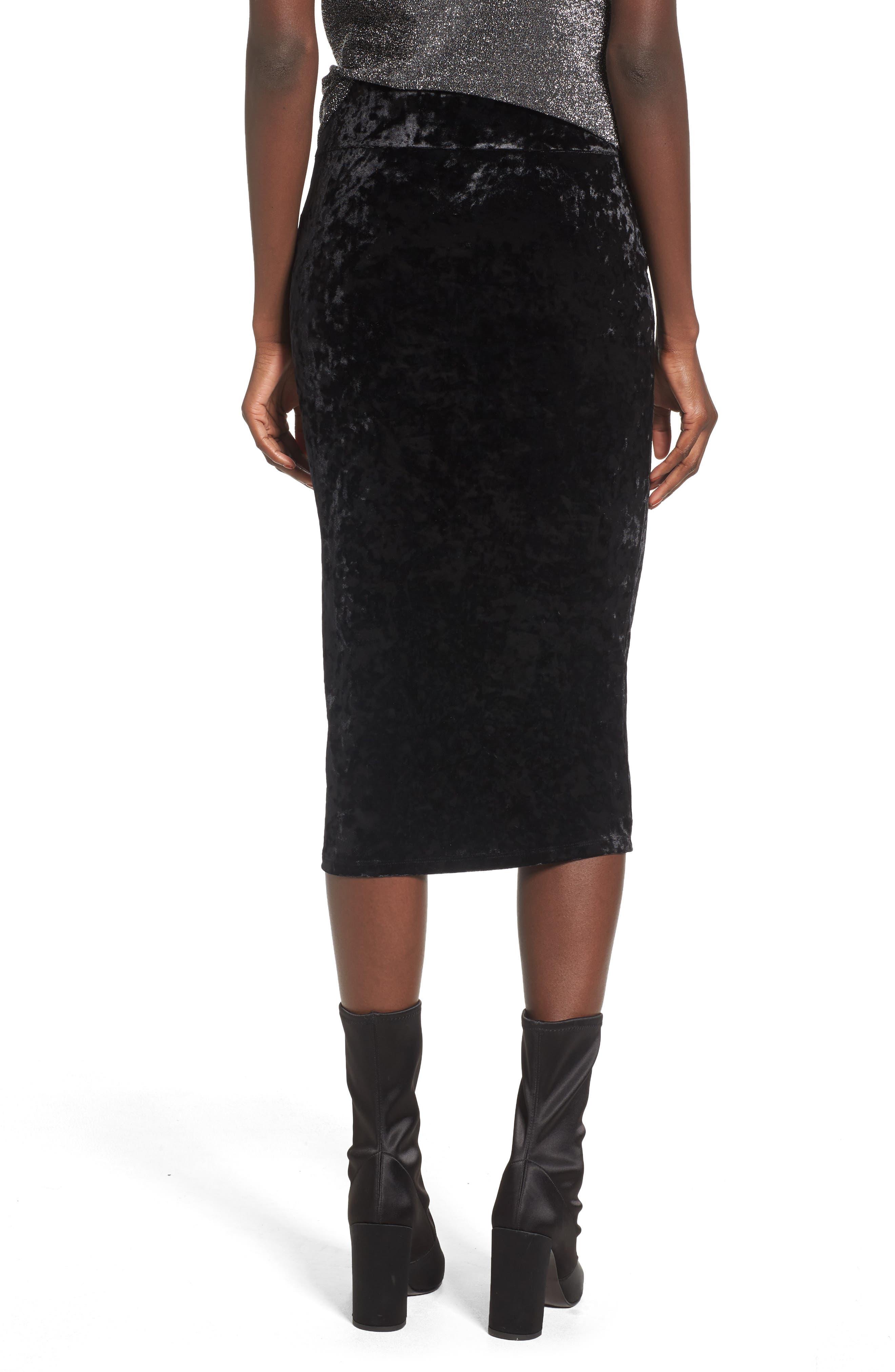 Leigh High Waist Velour Pencil Skirt,                             Alternate thumbnail 2, color,                             001