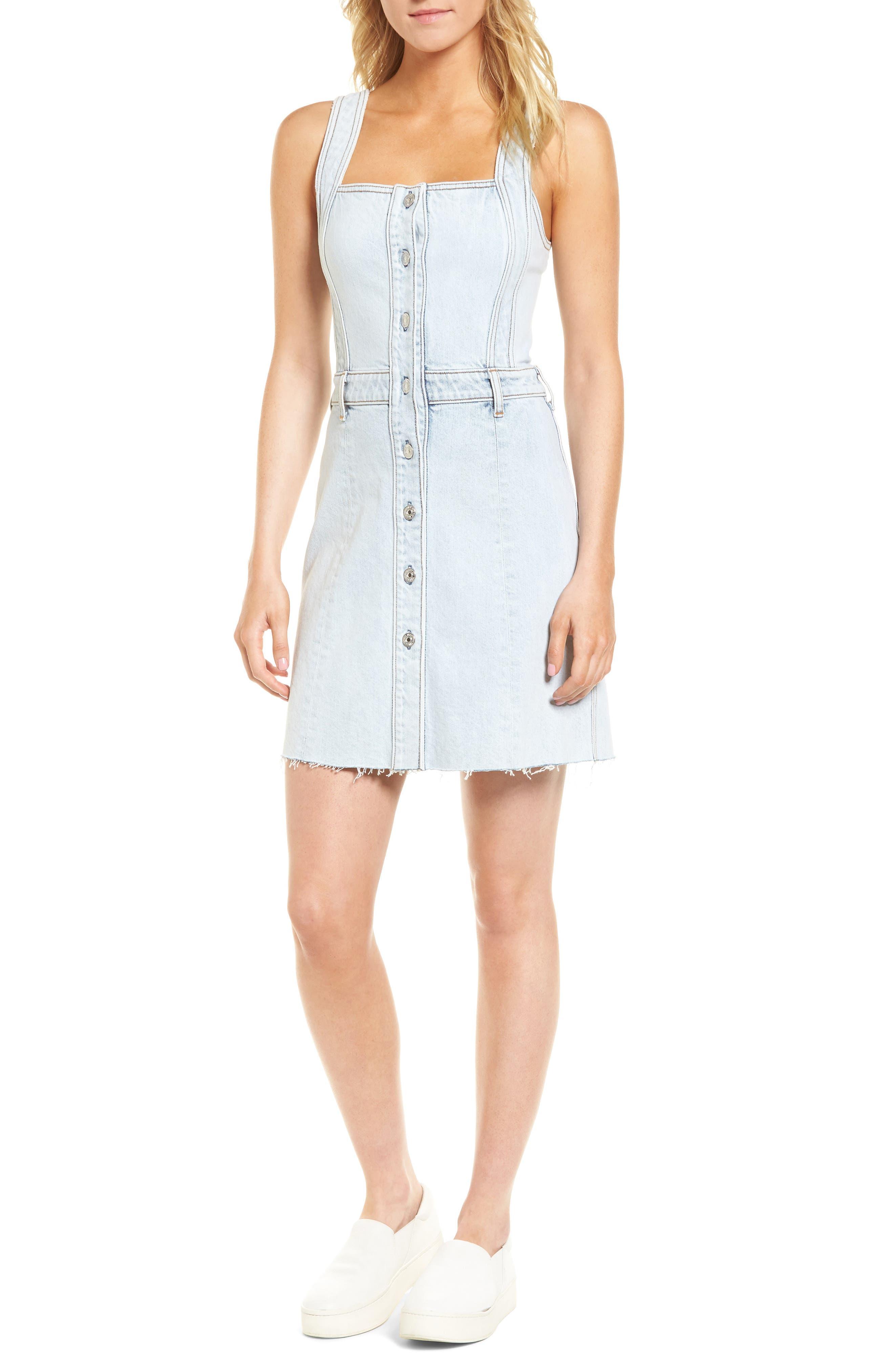 Denim Pinafore Dress,                         Main,                         color, 402