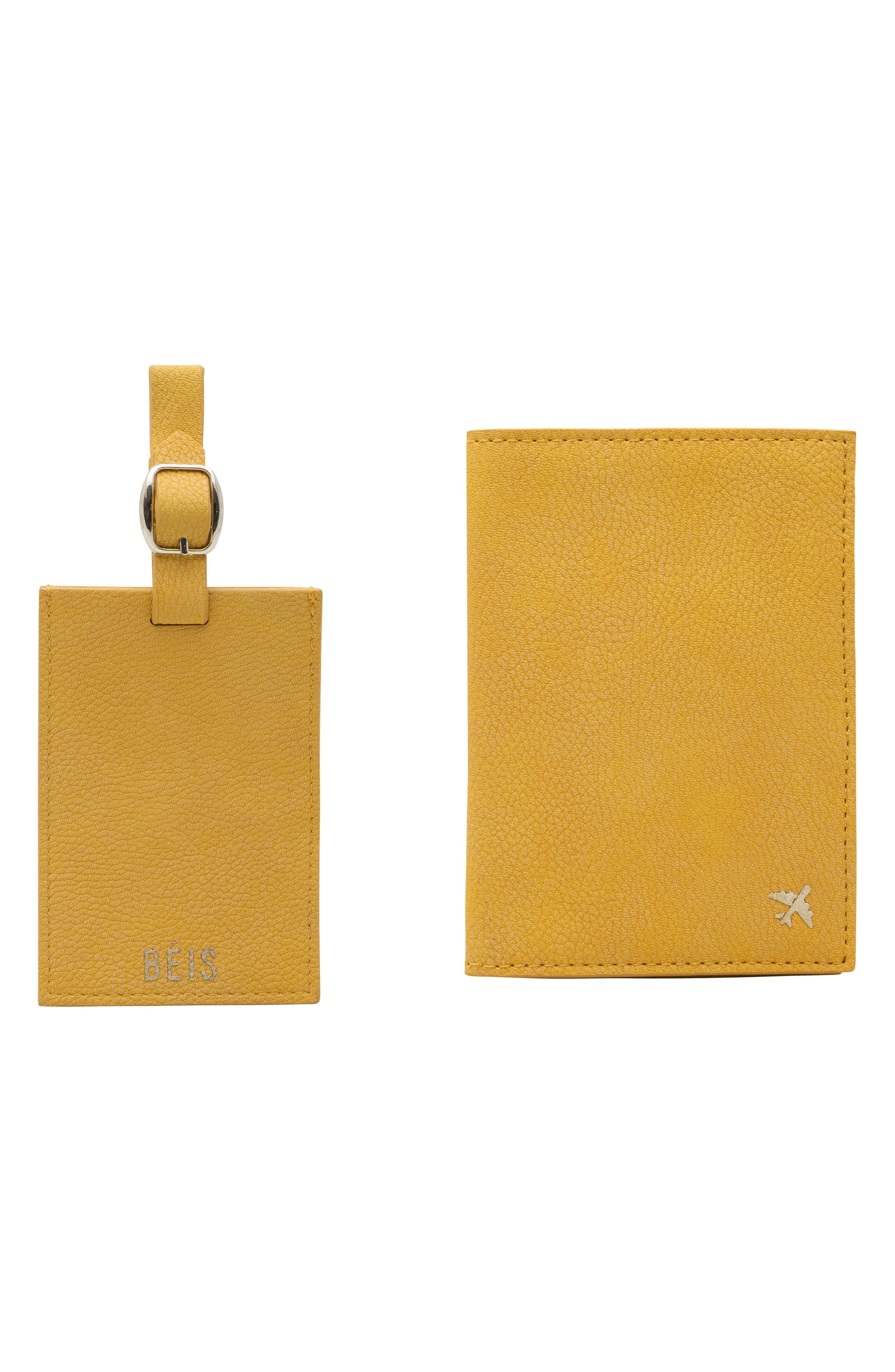 Travel Luggage Tag & Passport Holder Set, Main, color, YELLOW