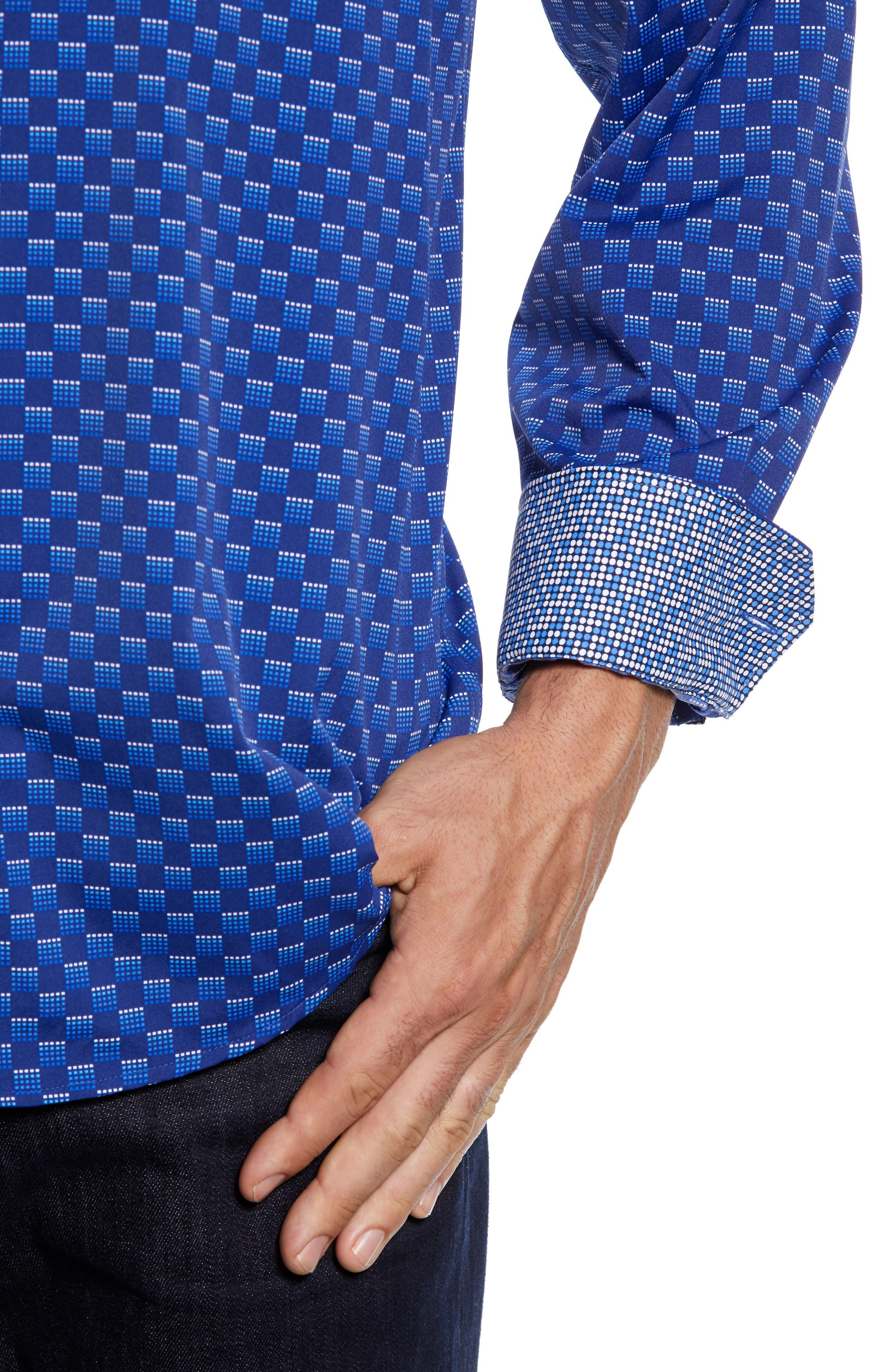 Classic Fit Print Performance Sport Shirt,                             Alternate thumbnail 2, color,                             NIGHT BLUE