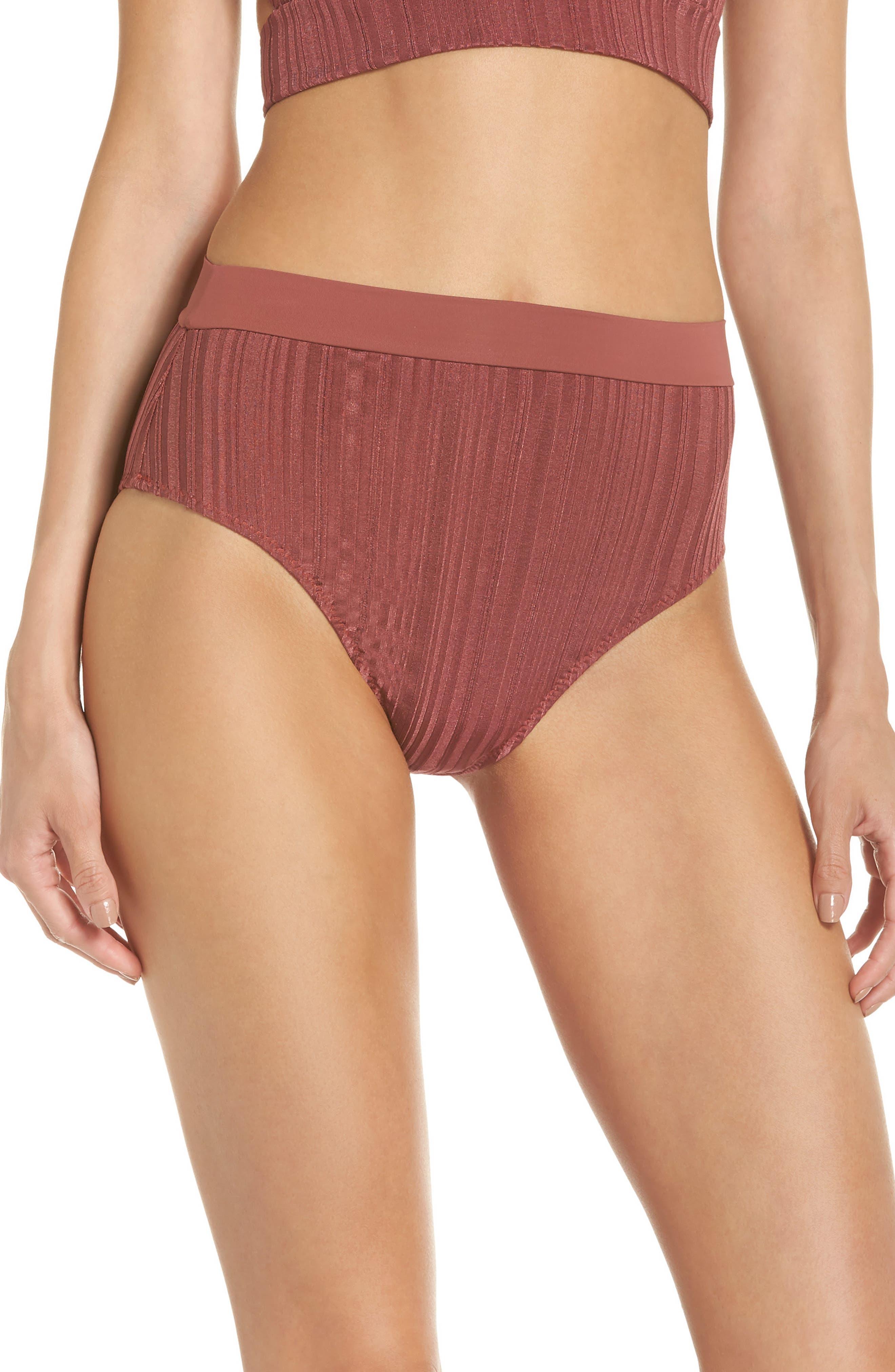 Tavik Pernille High Waist Bikini Bottoms, Burgundy
