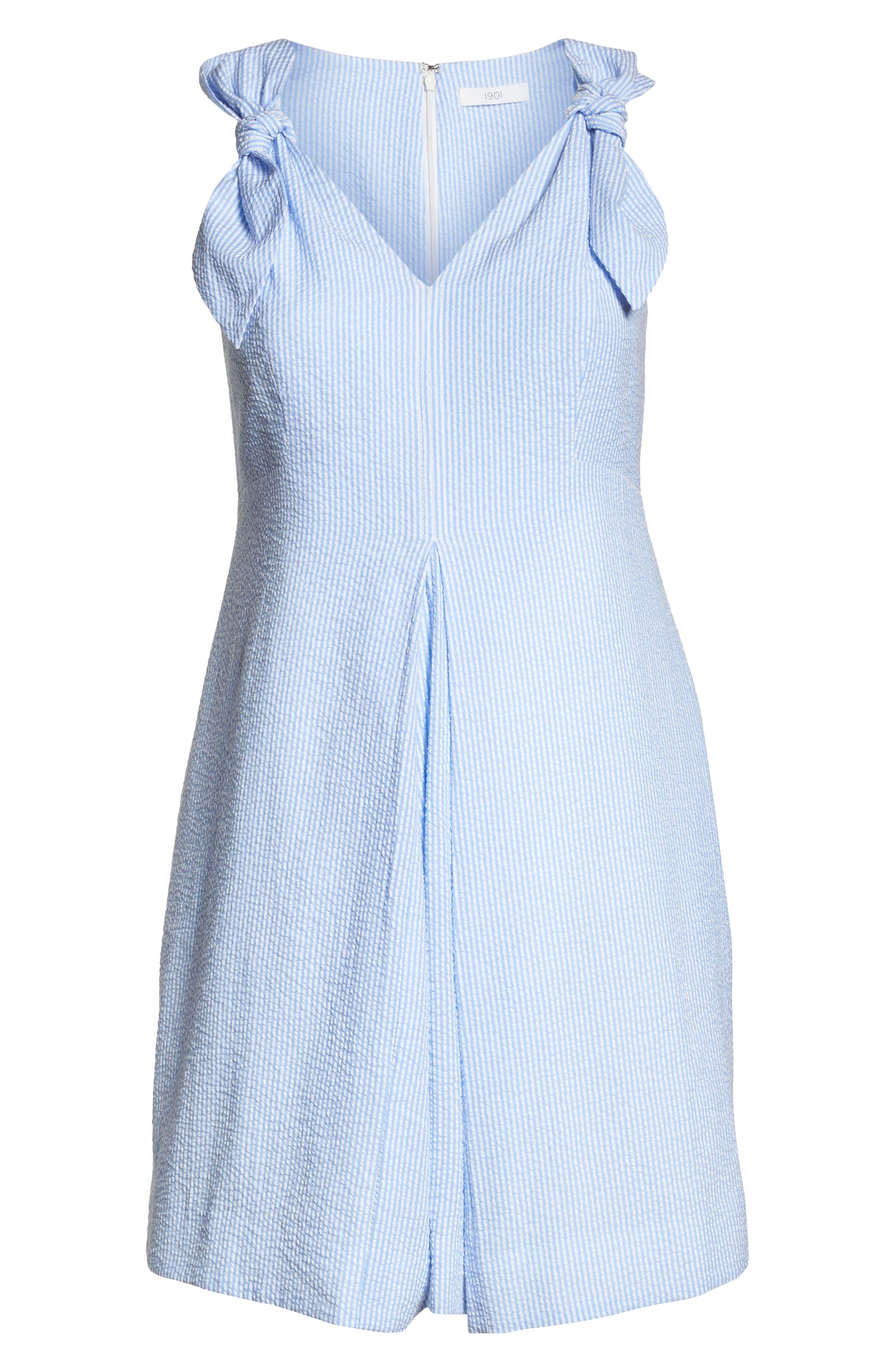 Bow Shoulder Seersucker Dress,                             Alternate thumbnail 7, color,                             420